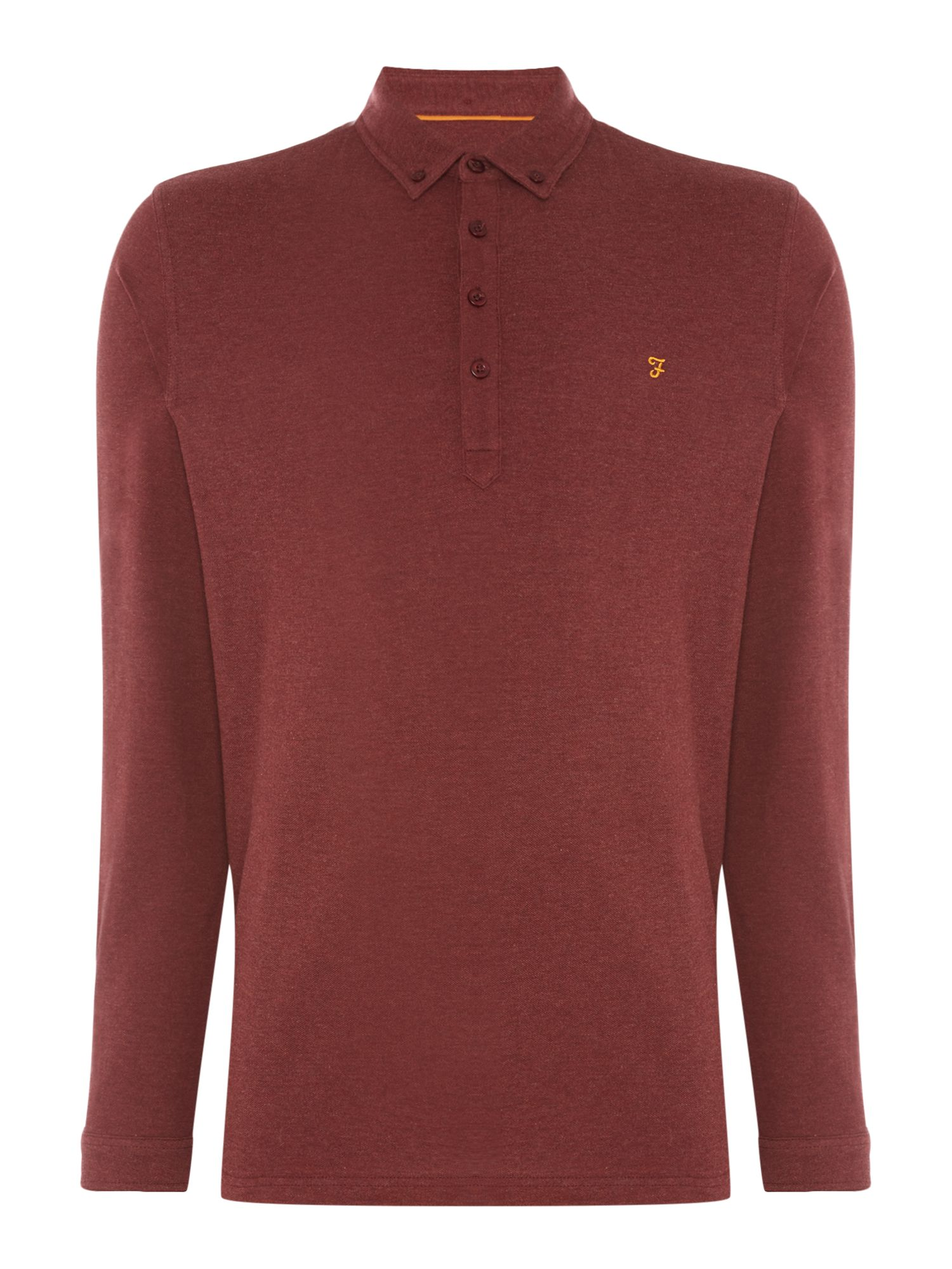 Men's Farah Long Sleeve Merriweather Polo, Red
