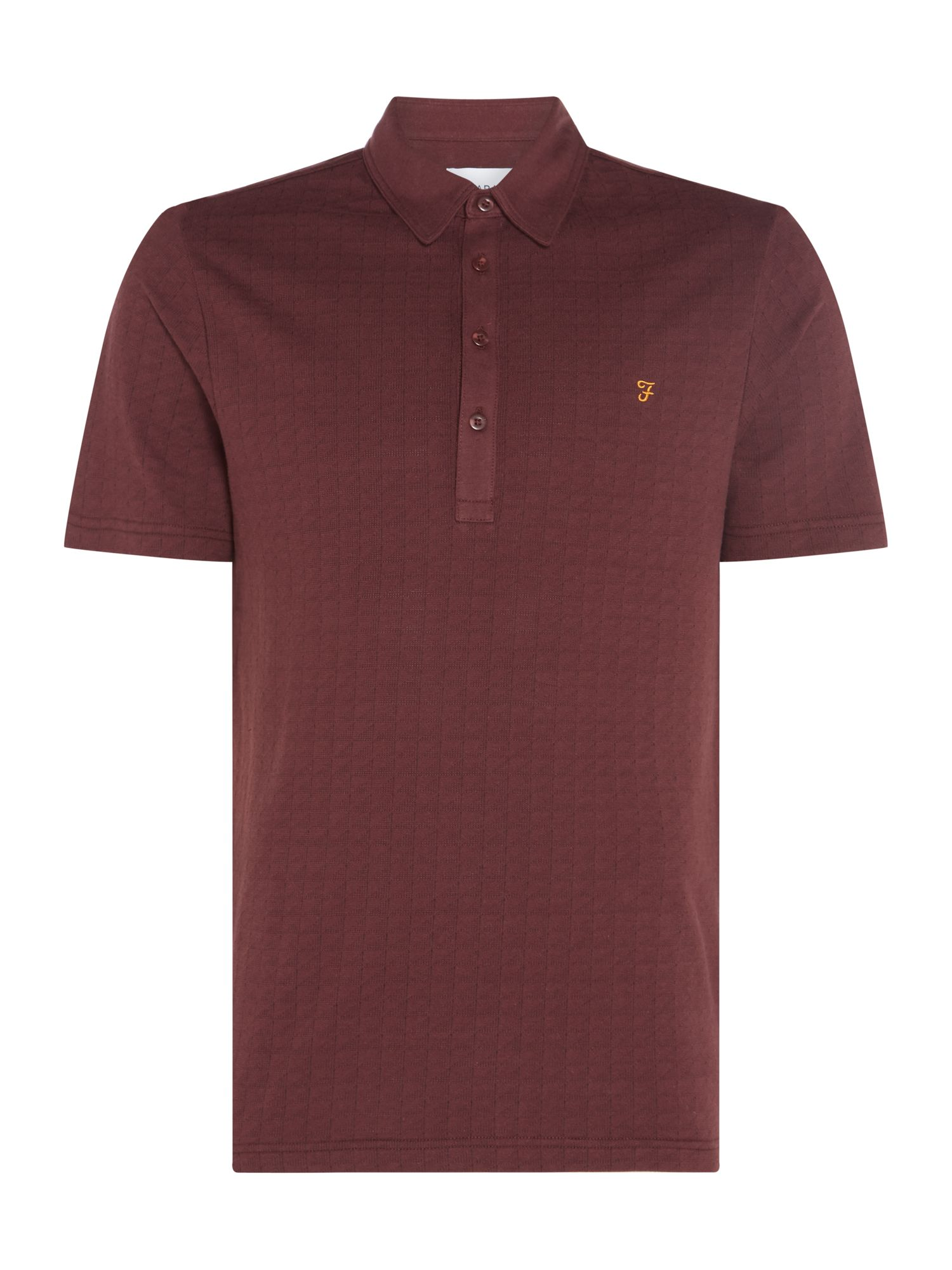Men's Farah Chelsea Jacquard Short Sleeve Polo, Red