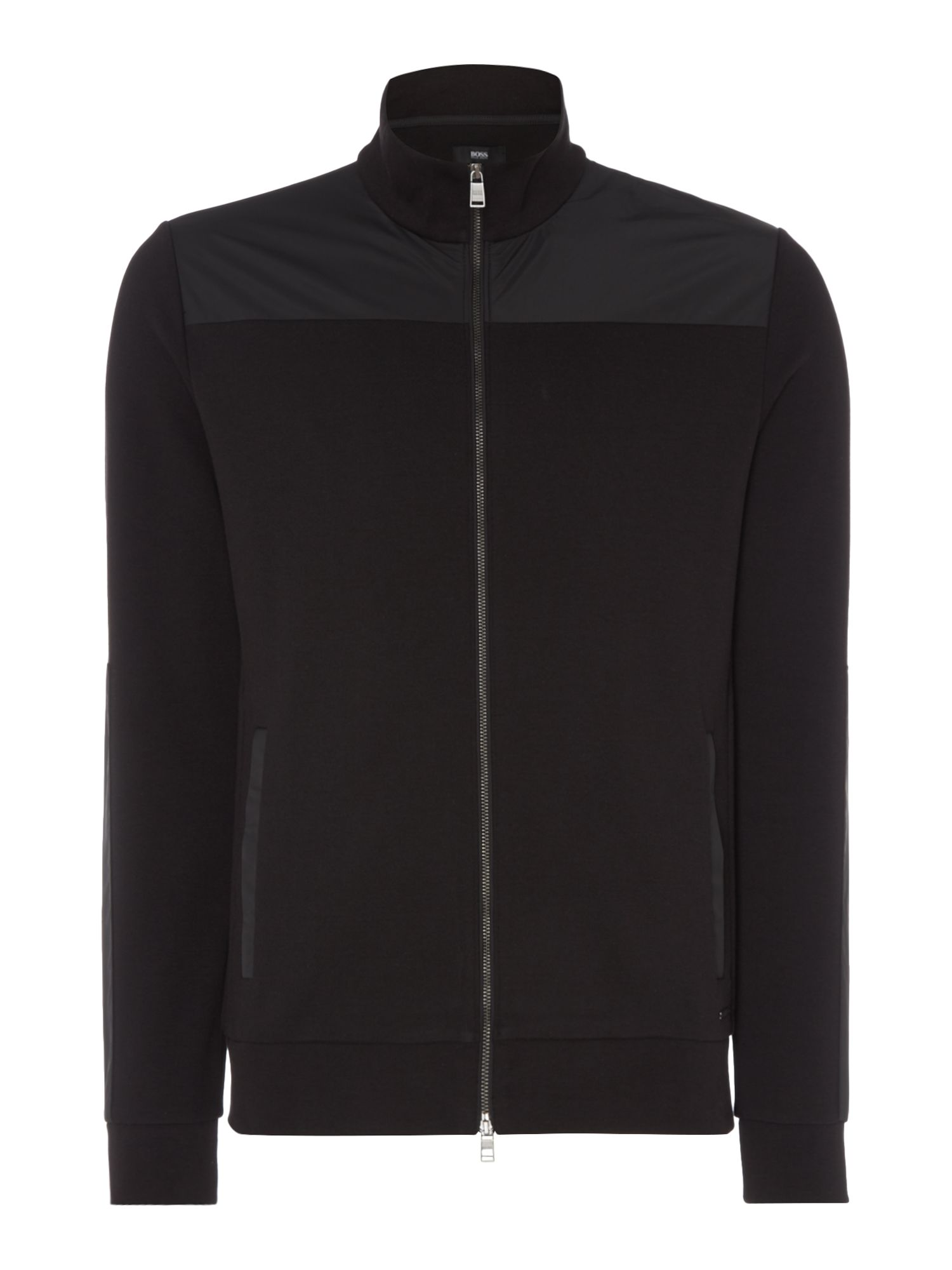 Men's Hugo Boss Shepherd 09 mixed media zip up sweatshirt, Black