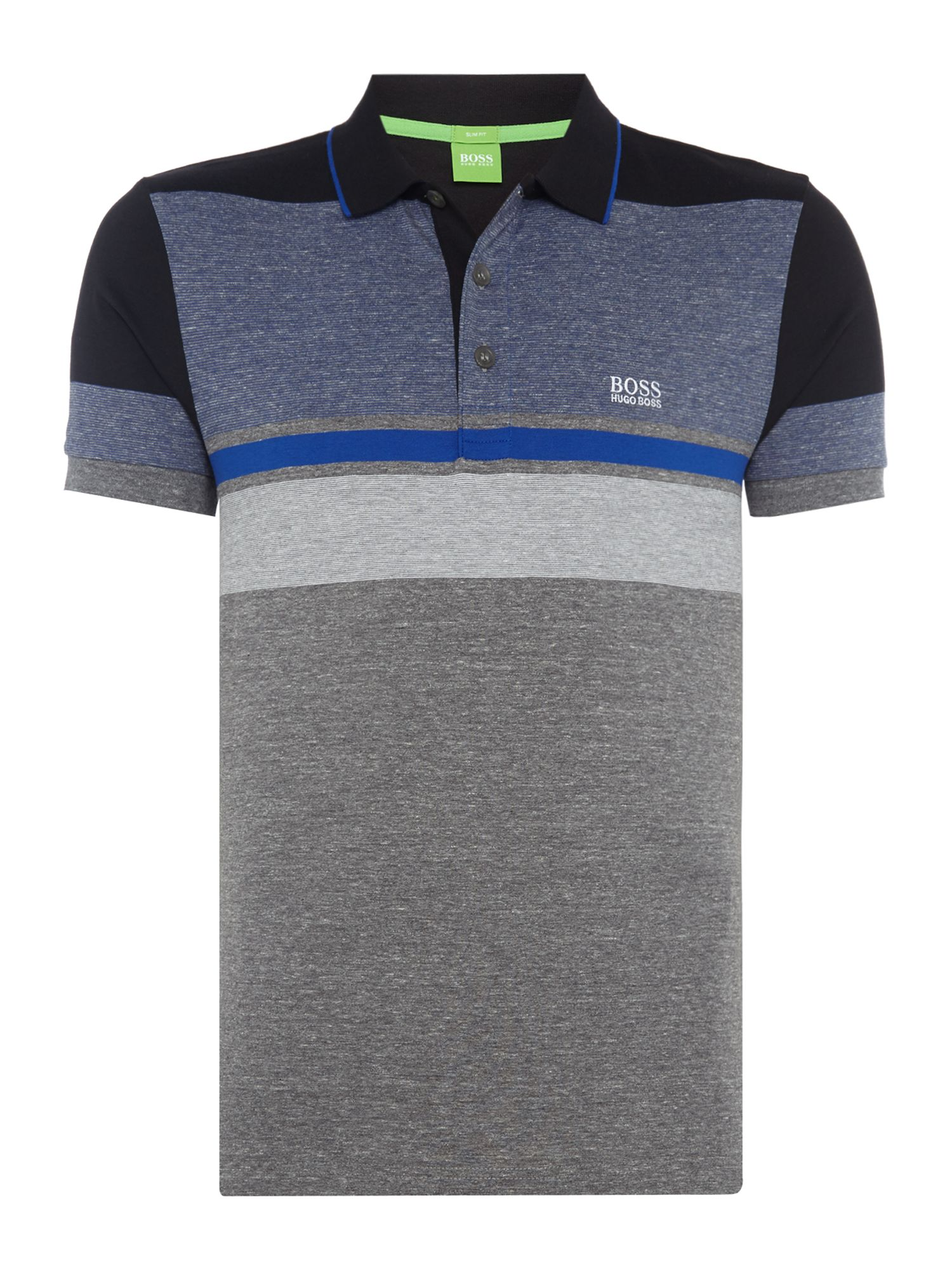 Men's Hugo Boss Paulie 1 mixed stripe polo, Grey Marl