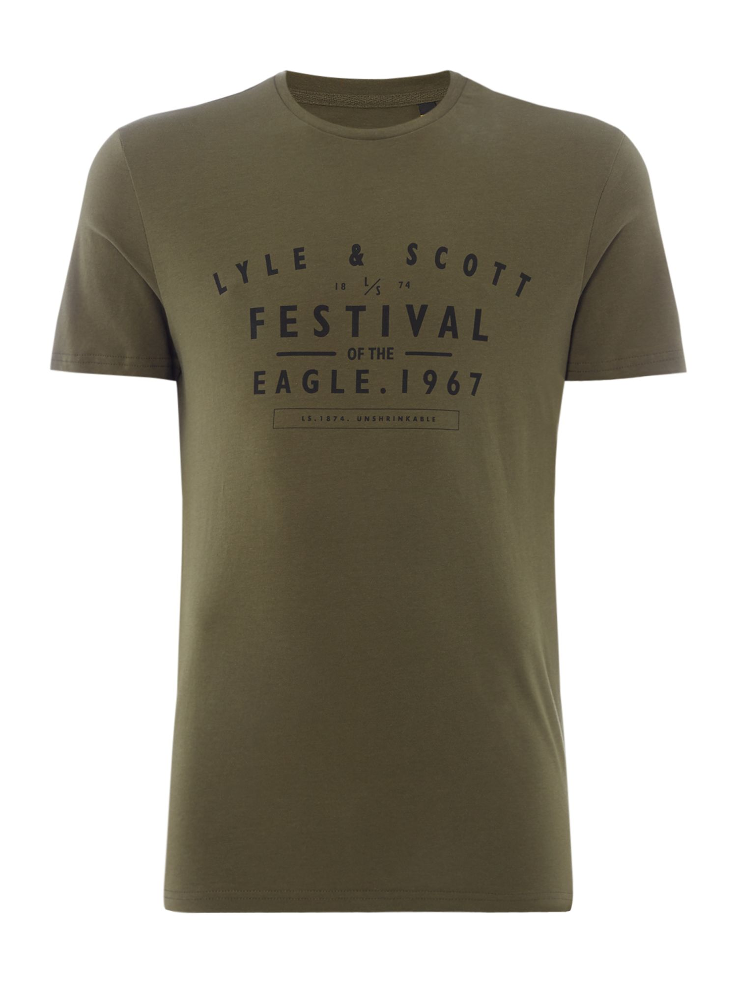 Men's Lyle and Scott Festival graphic logo short sleeve tshirt, Olive