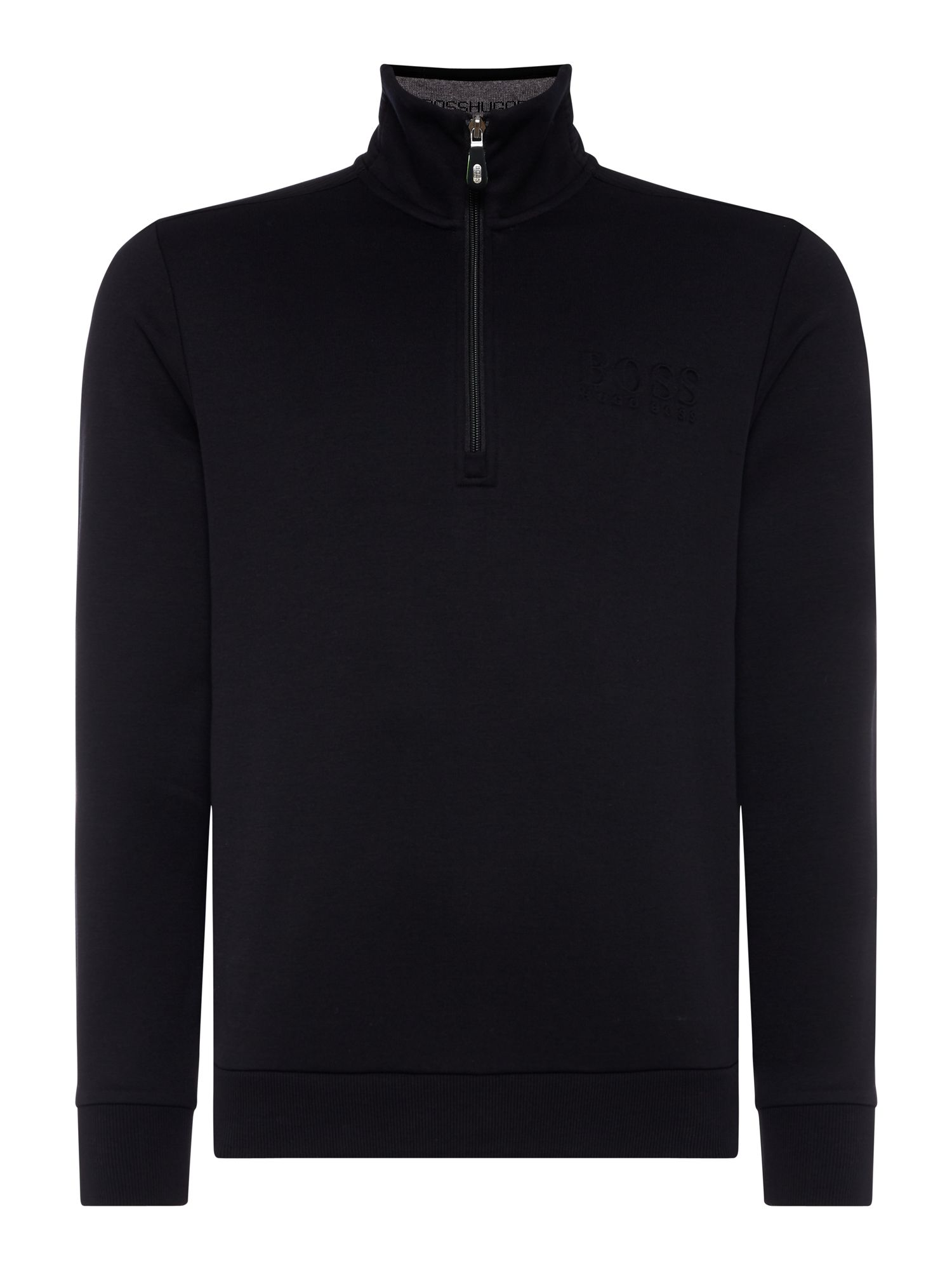 Men's Hugo Boss Quater zip funnel neck sweatshirt, Black