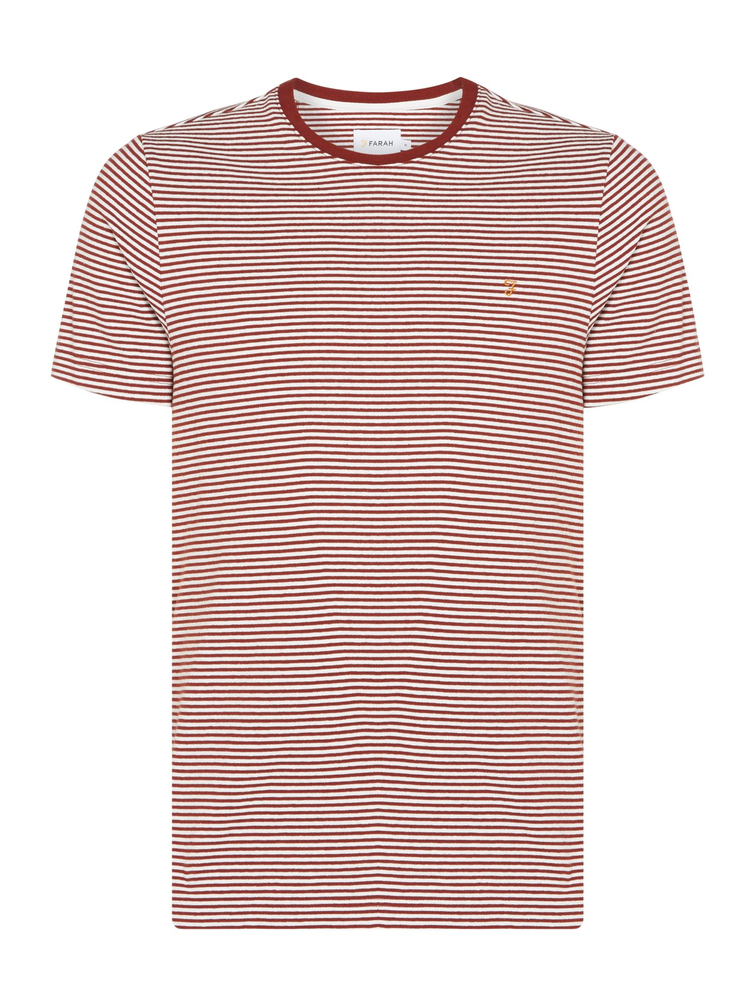 Men's Farah Vyner Yarn Dyed Stripe T-Shirt, Brick