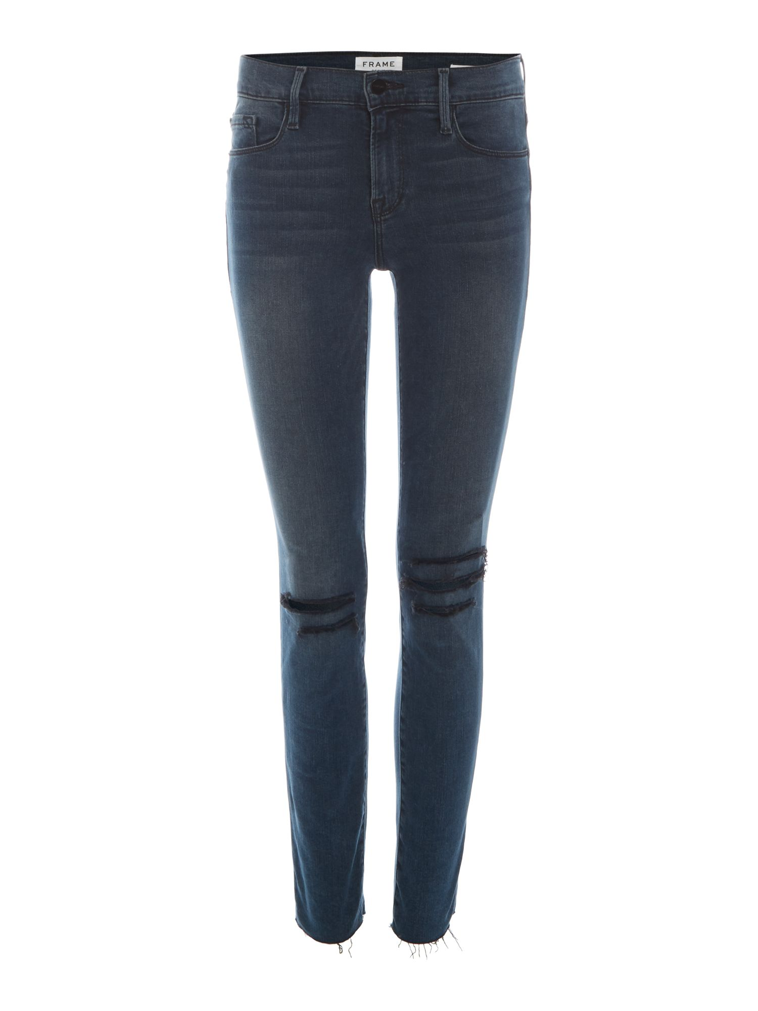 Frame Le Skinny De Jeanne Ripped Knee Jeans in Gifford, Denim Dark Wash