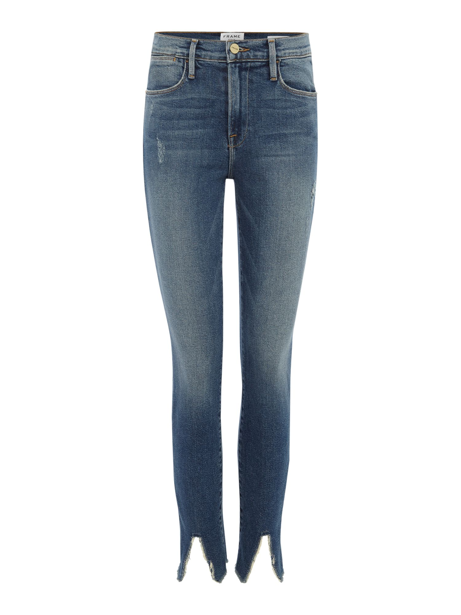 Frame Le High Skinny Raw Front Split Jeans in Beckett, Denim Mid Wash