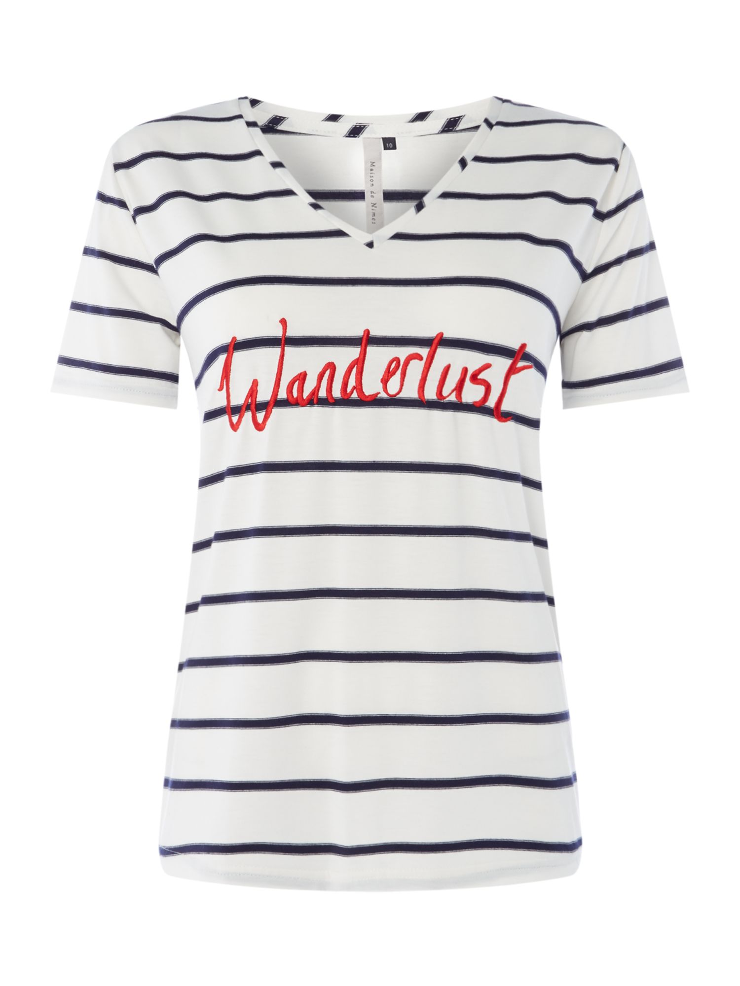 Maison De Nimes Wanderlust Embroidered Stripe Tee, Blue