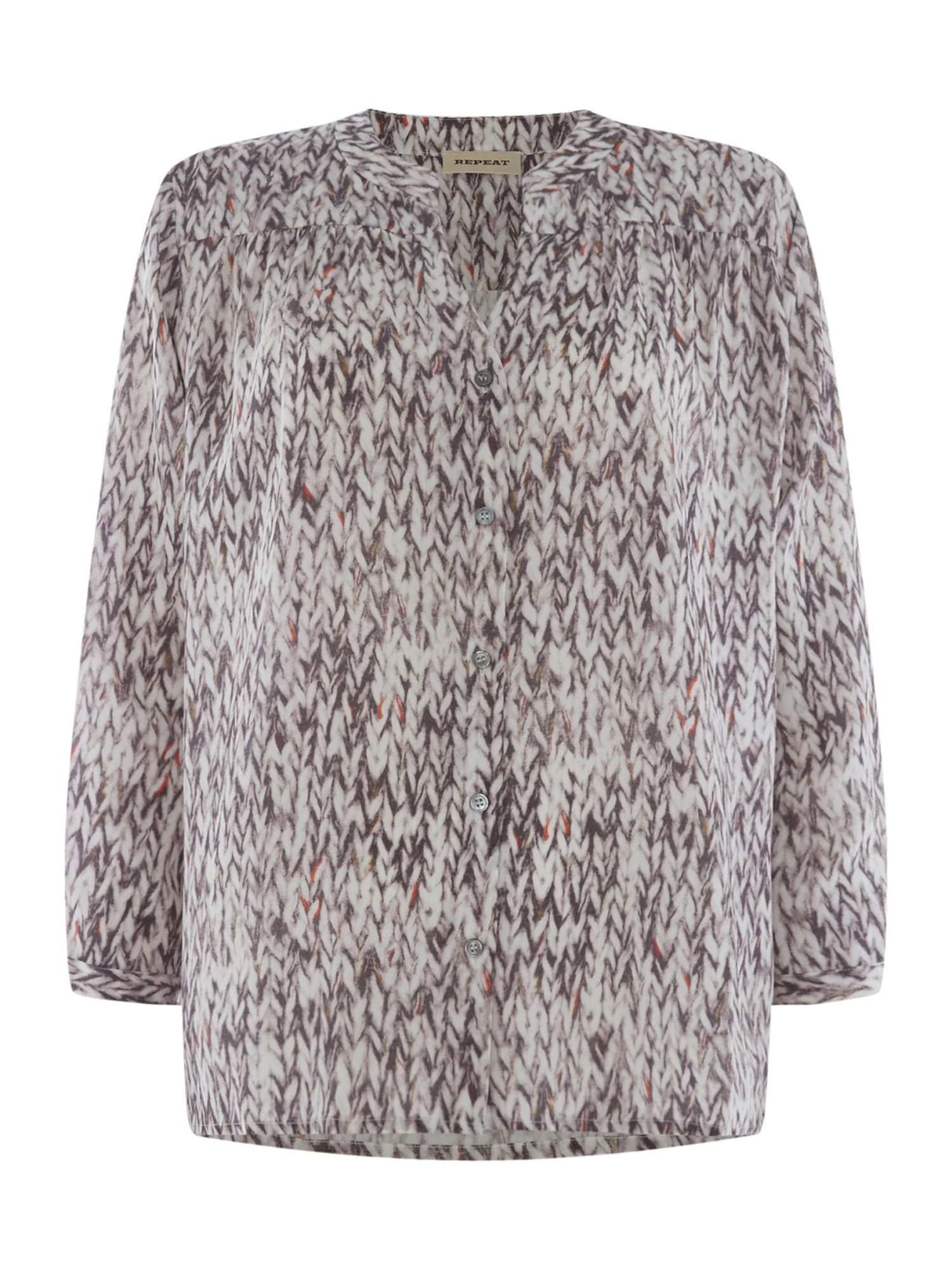 Repeat Cashmere Printed silk blouse with long sleeves, Stone