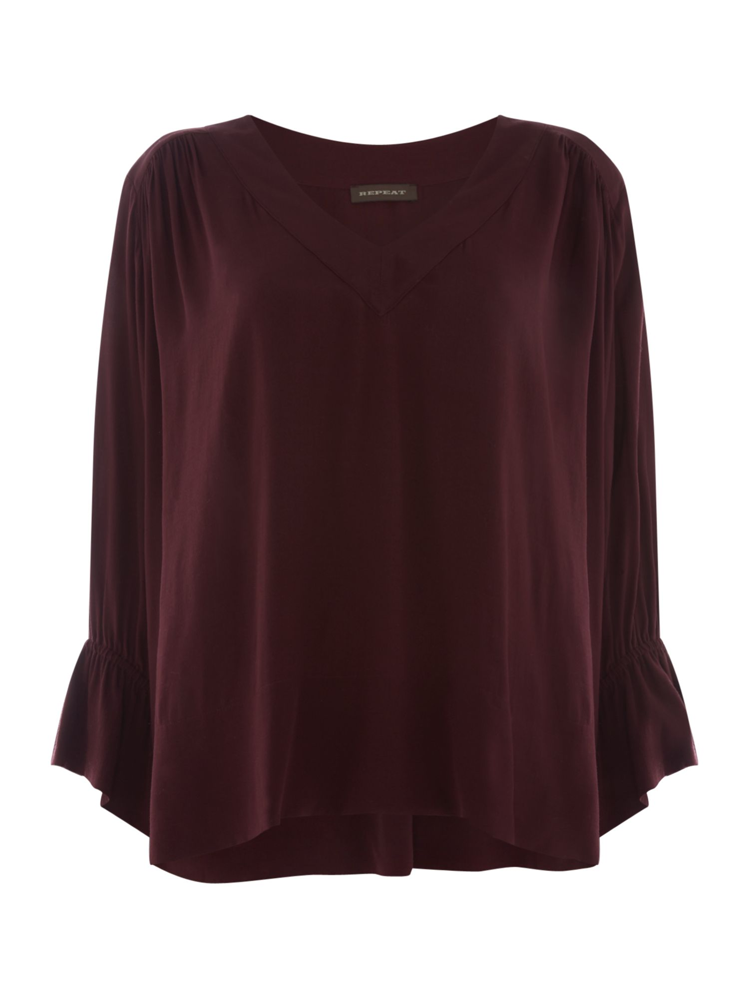 Repeat Cashmere Simple v neck blouse, Red