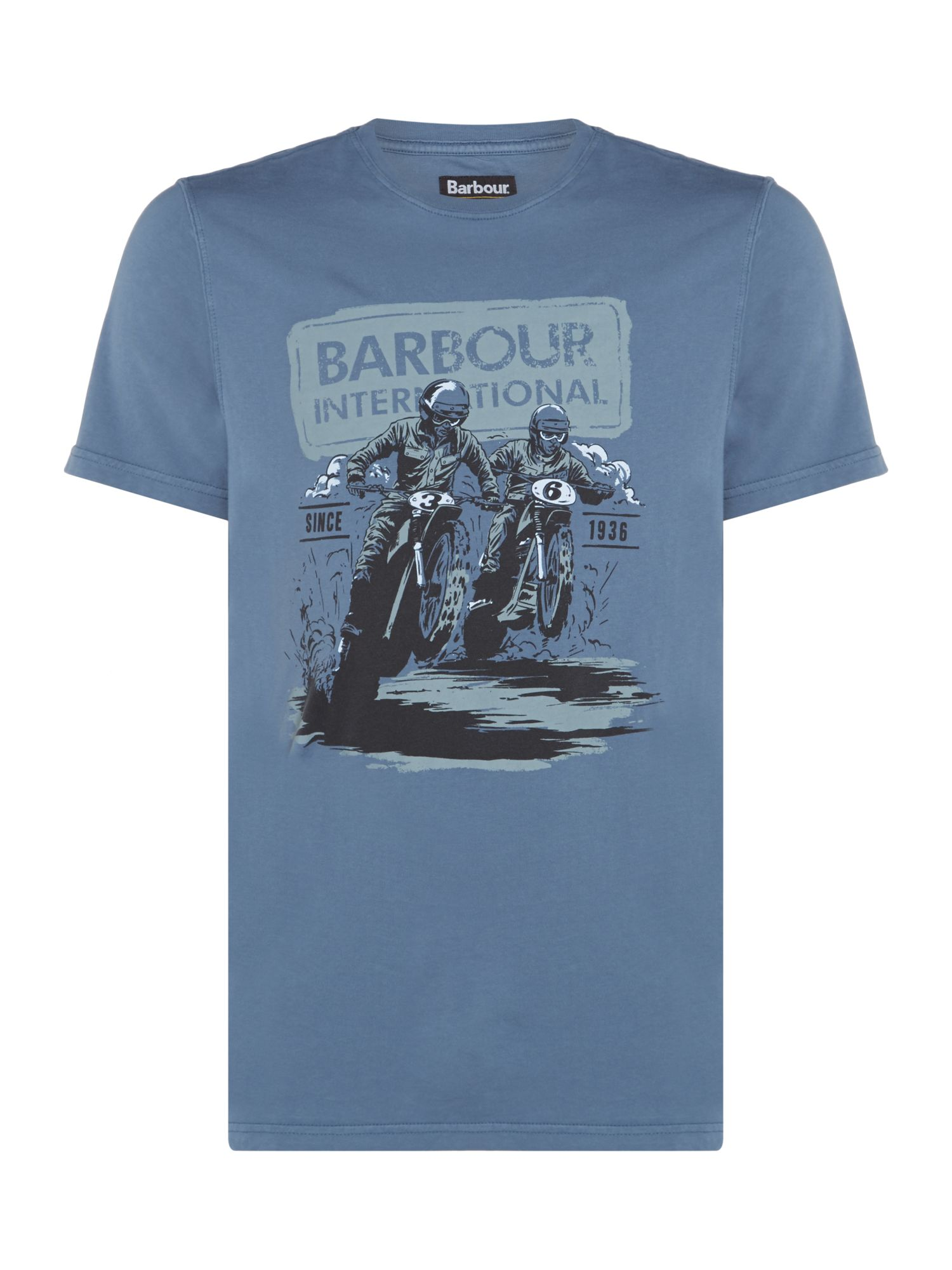 Men's Barbour Duke race short sleeve tshirt, Chambray