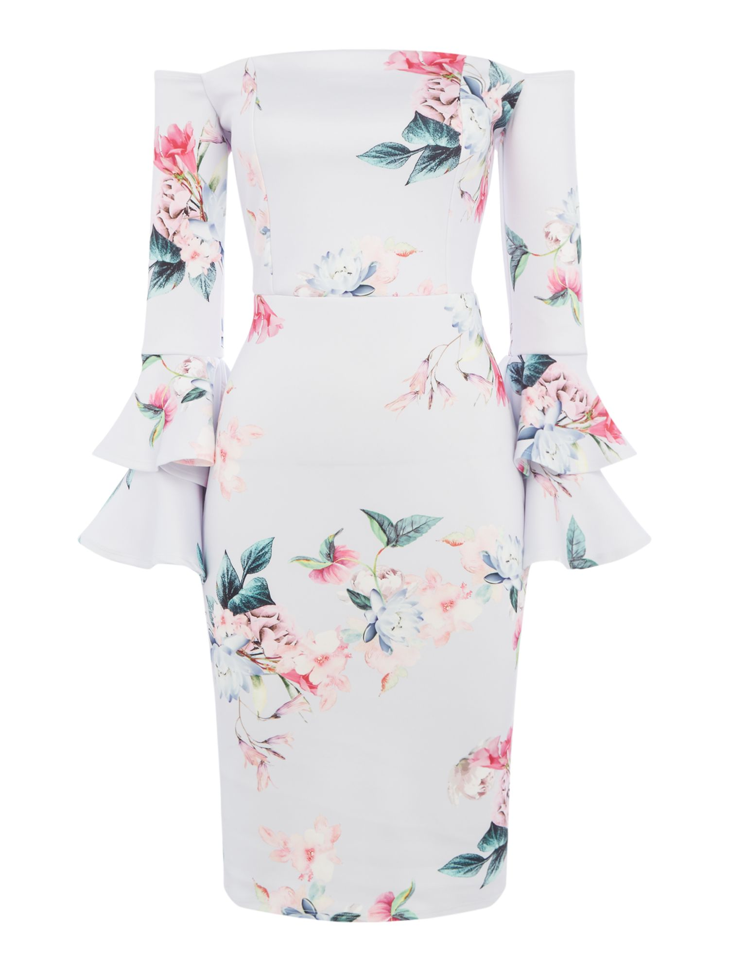 Jessica Wright Bell sleeve off shoulder shift dress, Multi-Coloured