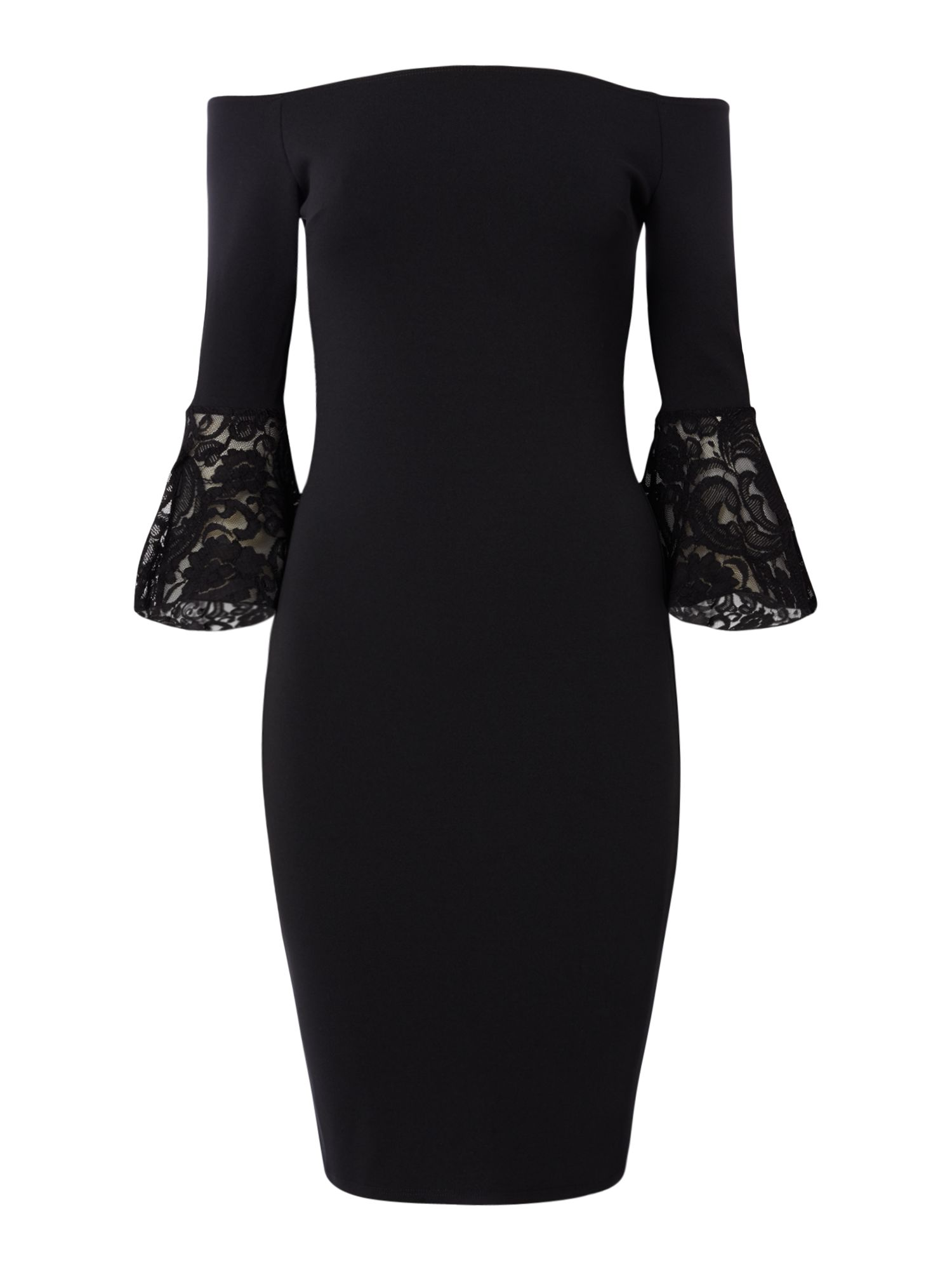 Jessica Wright Off shoulder shift dress with sleeve lace detail, Black
