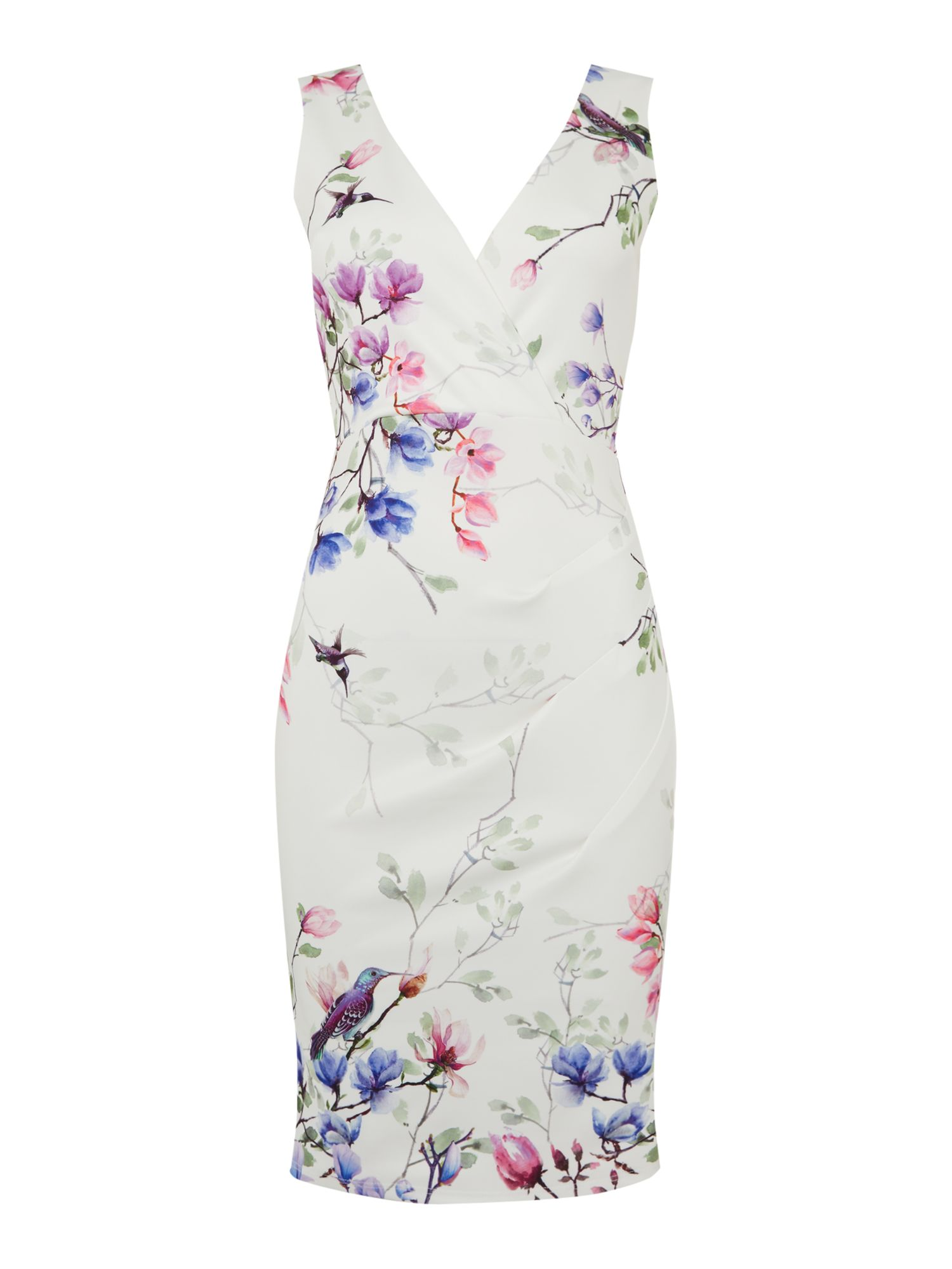 Jessica Wright V neck printed wrap shift dress, Multi-Coloured