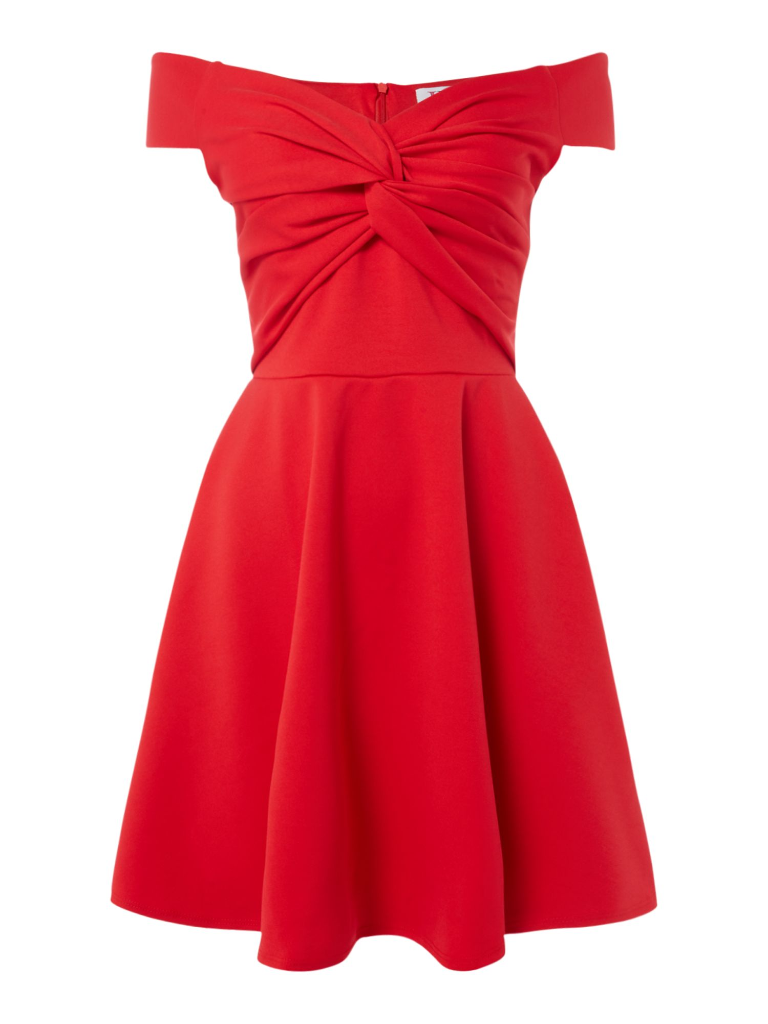 Jessica Wright Tie bodice fit and flare dress, Red