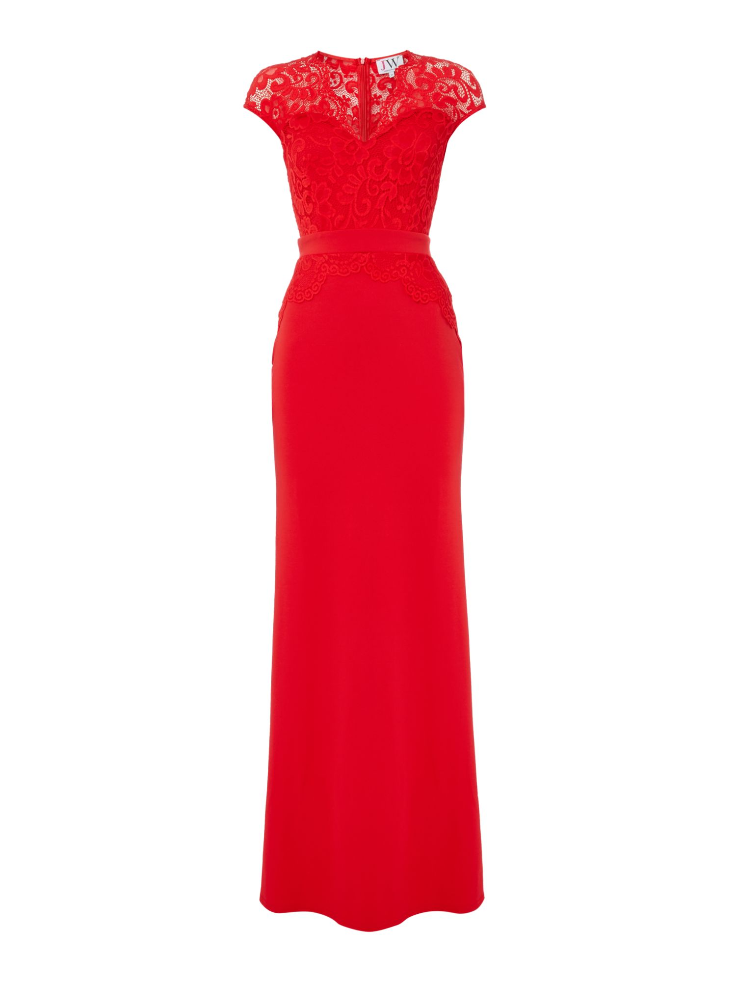 Jessica Wright Cap sleeve lace maxi dress, Red