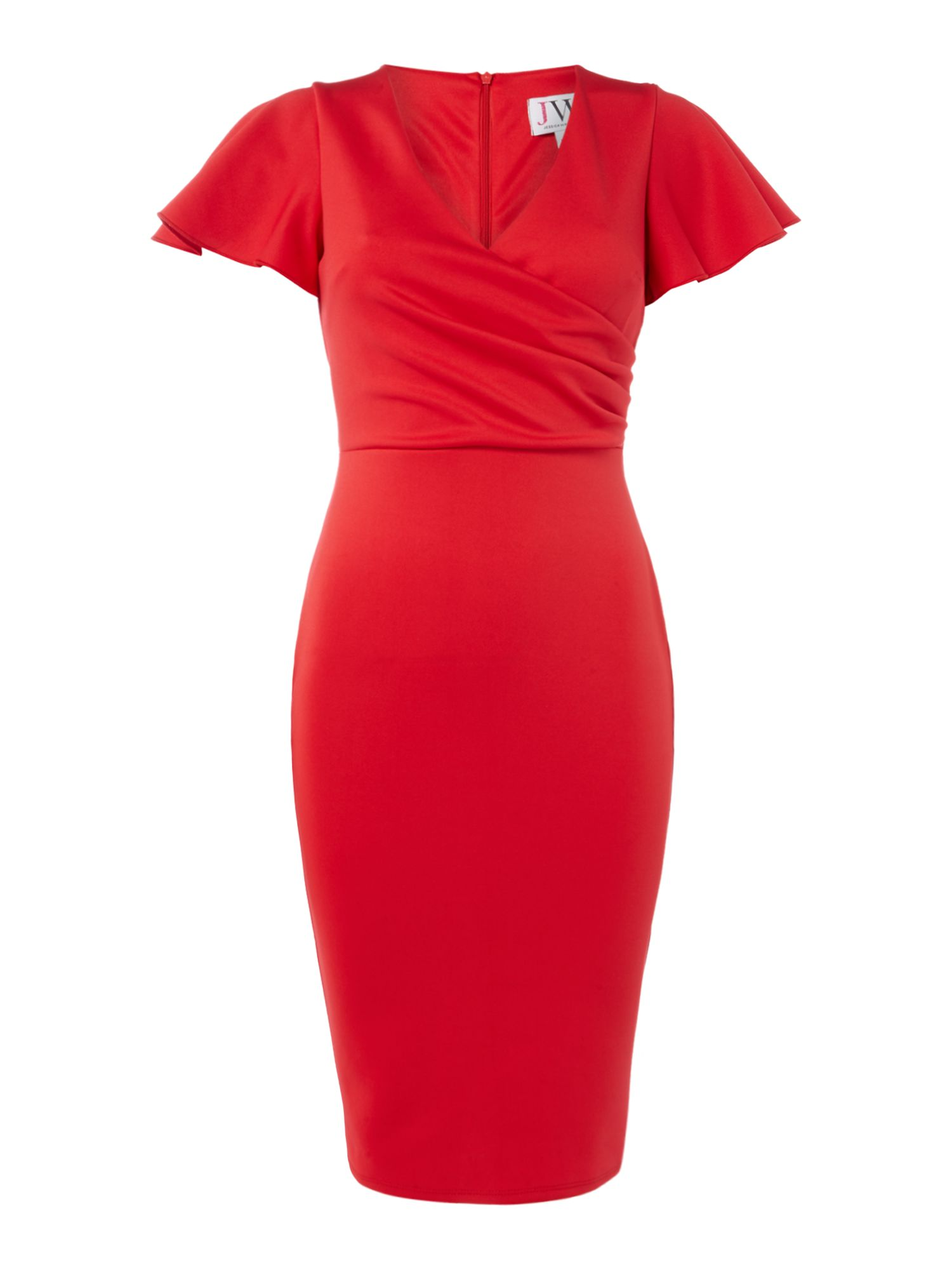 Jessica Wright V neck frill sleeve shift dress, Red