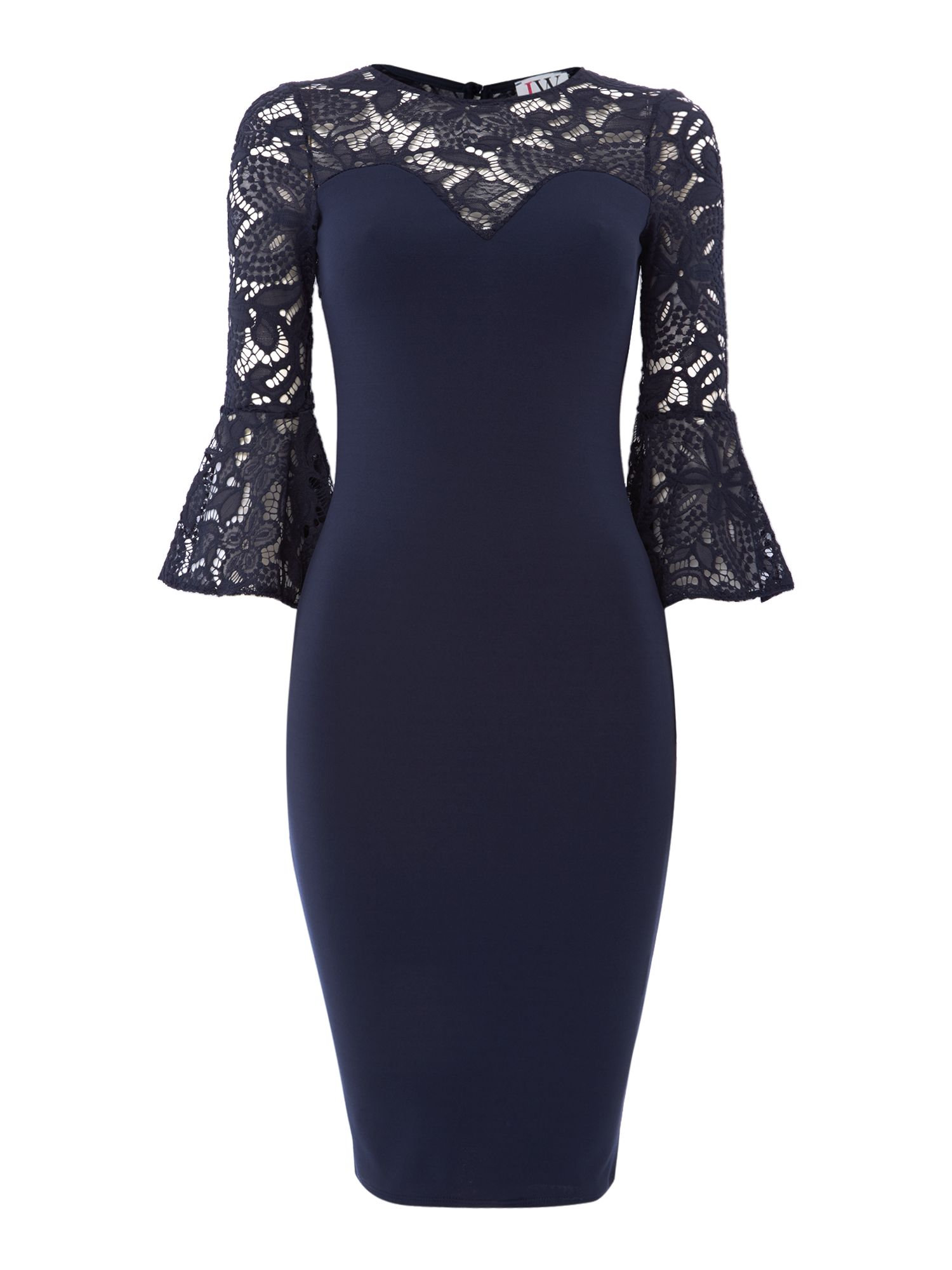 Jessica Wright Lace bell sleeve bodycon dress, Blue