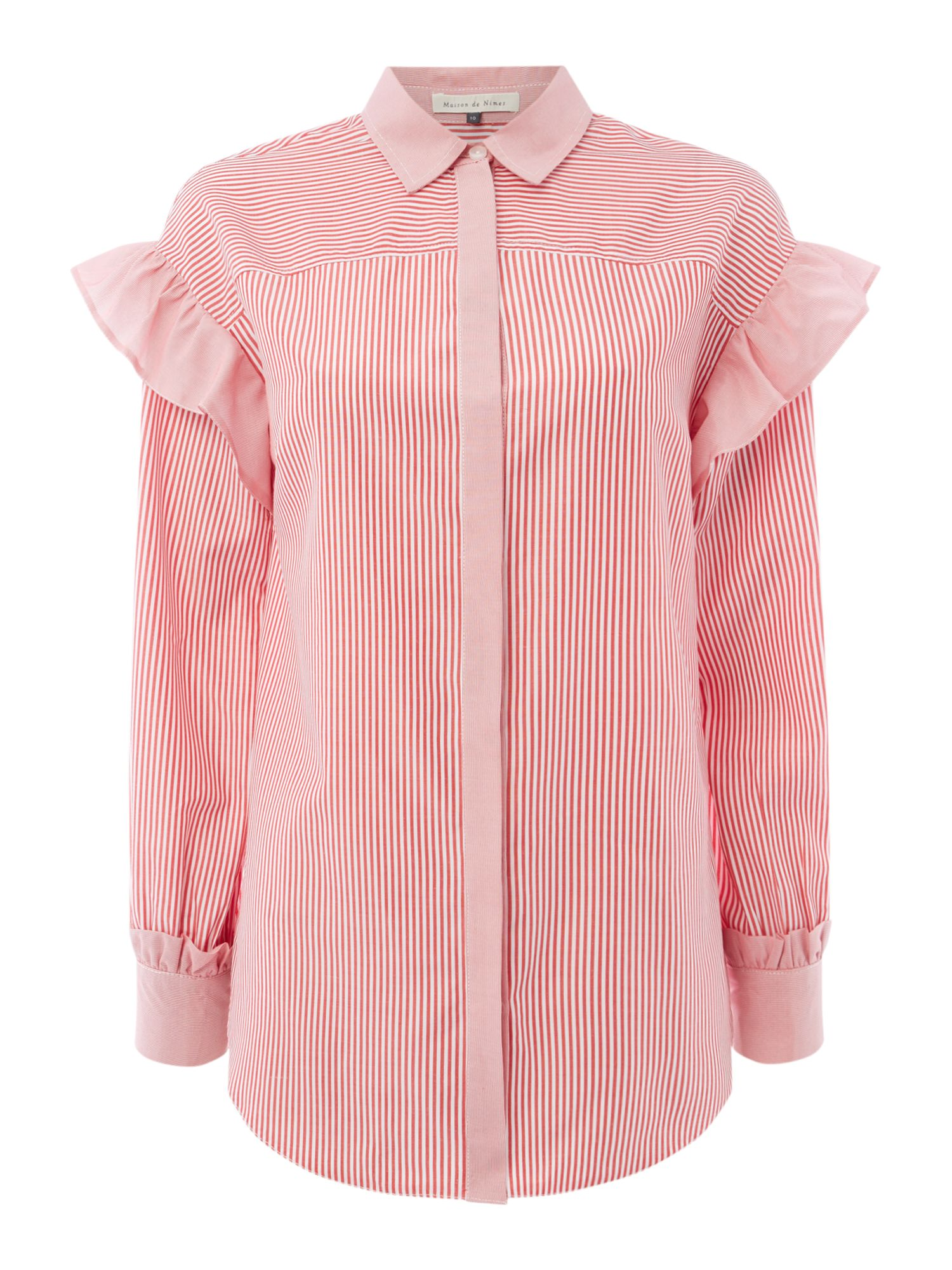 Maison De Nimes Stripe Mix Frill Sleeve Shirt, Red