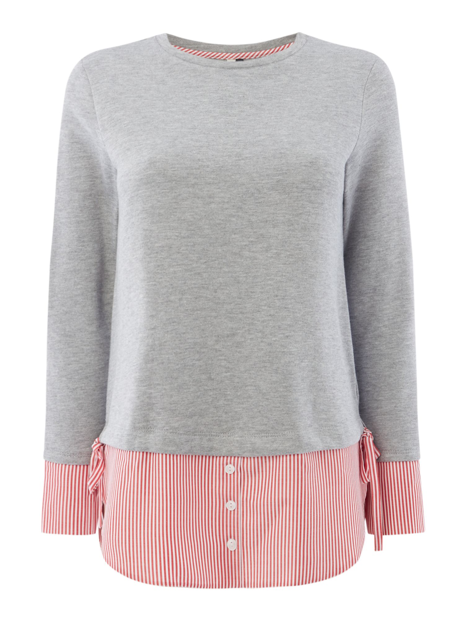 Maison De Nimes Ticking Stripe Mix Sweat, Grey