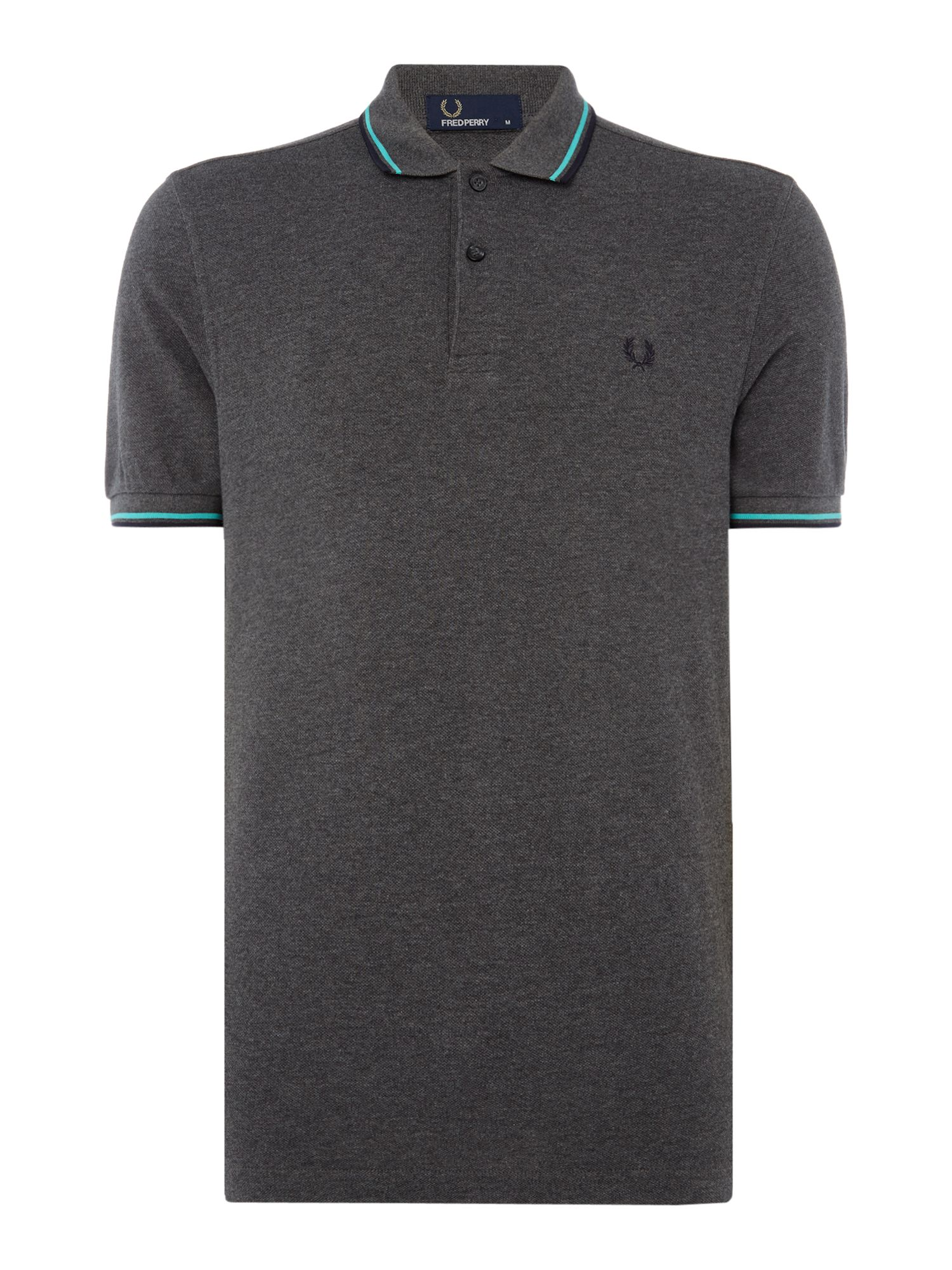 Men's Fred Perry Twin tipped polo, Mid Grey