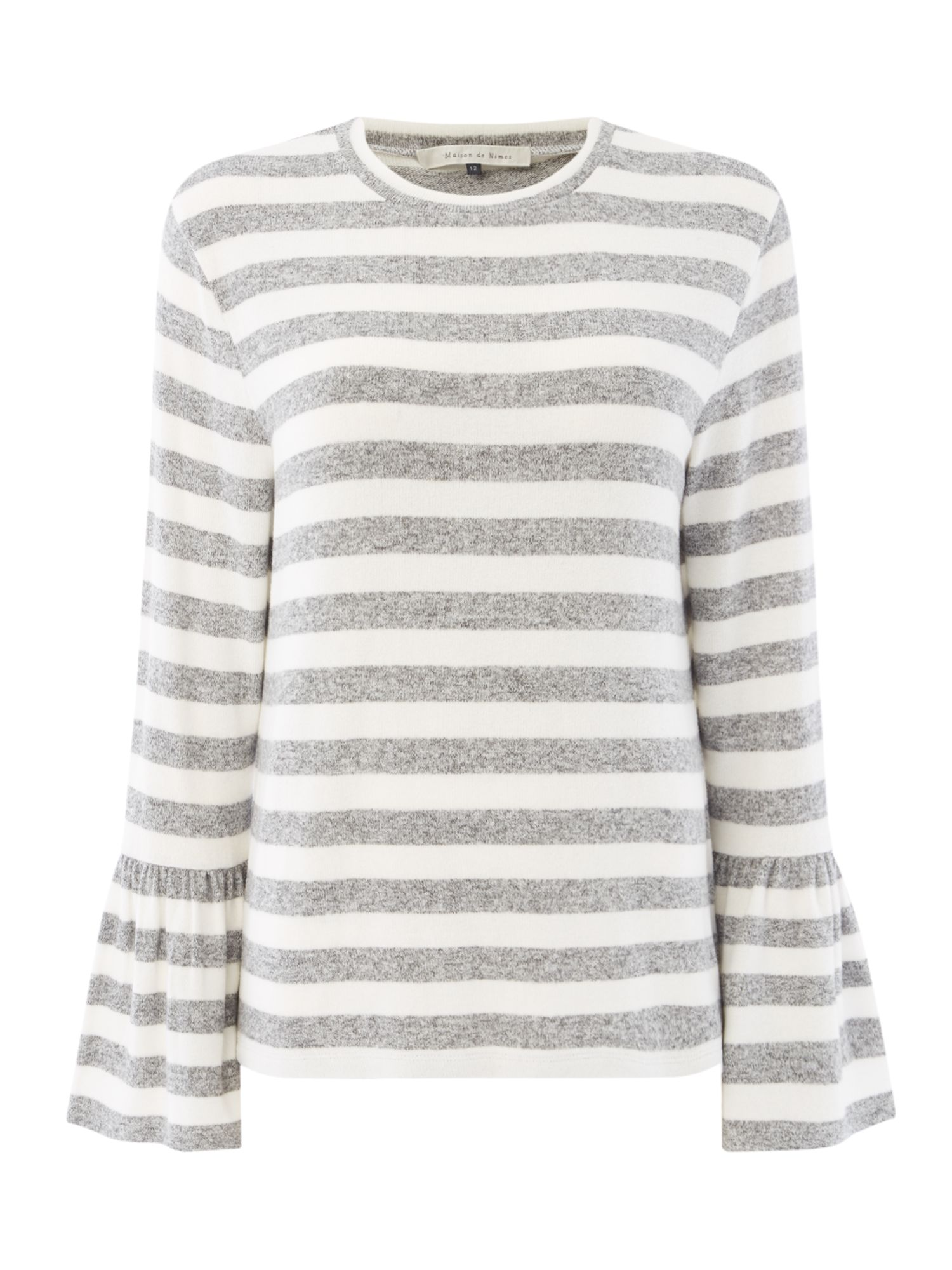 Maison De Nimes Cut and Sew Elm Stripe Bell Sleeve, Grey
