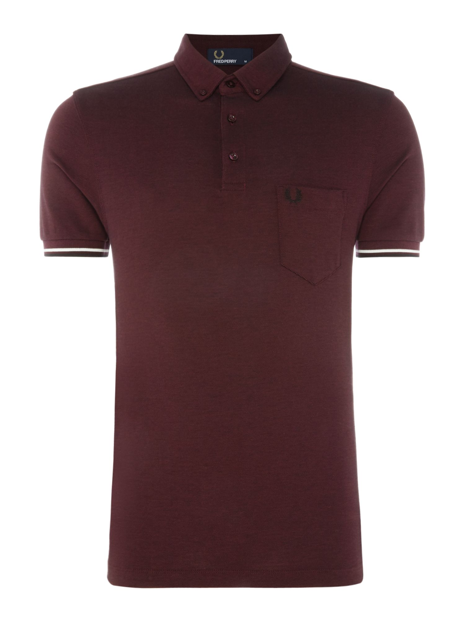 Men's Fred Perry Oxford short sleeve pique polo, Aubergine
