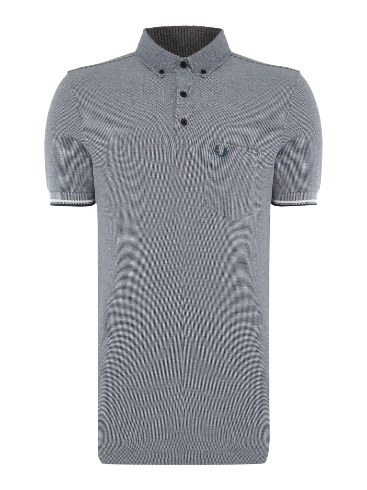 Men's Fred Perry Oxford short sleeve pique polo, Dark Blue