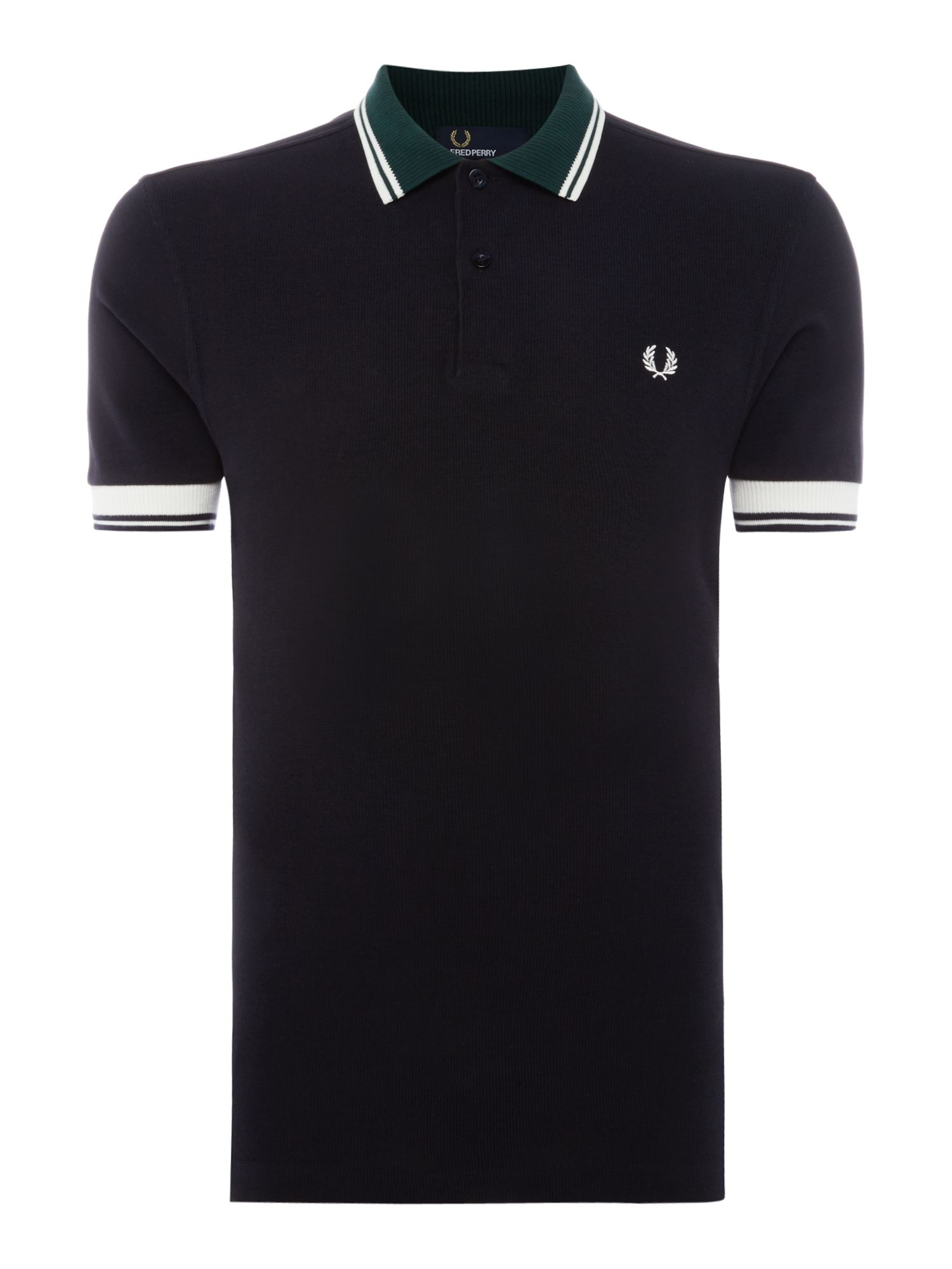 Men's Fred Perry Ribbed trim short sleeve pique polo, Blue