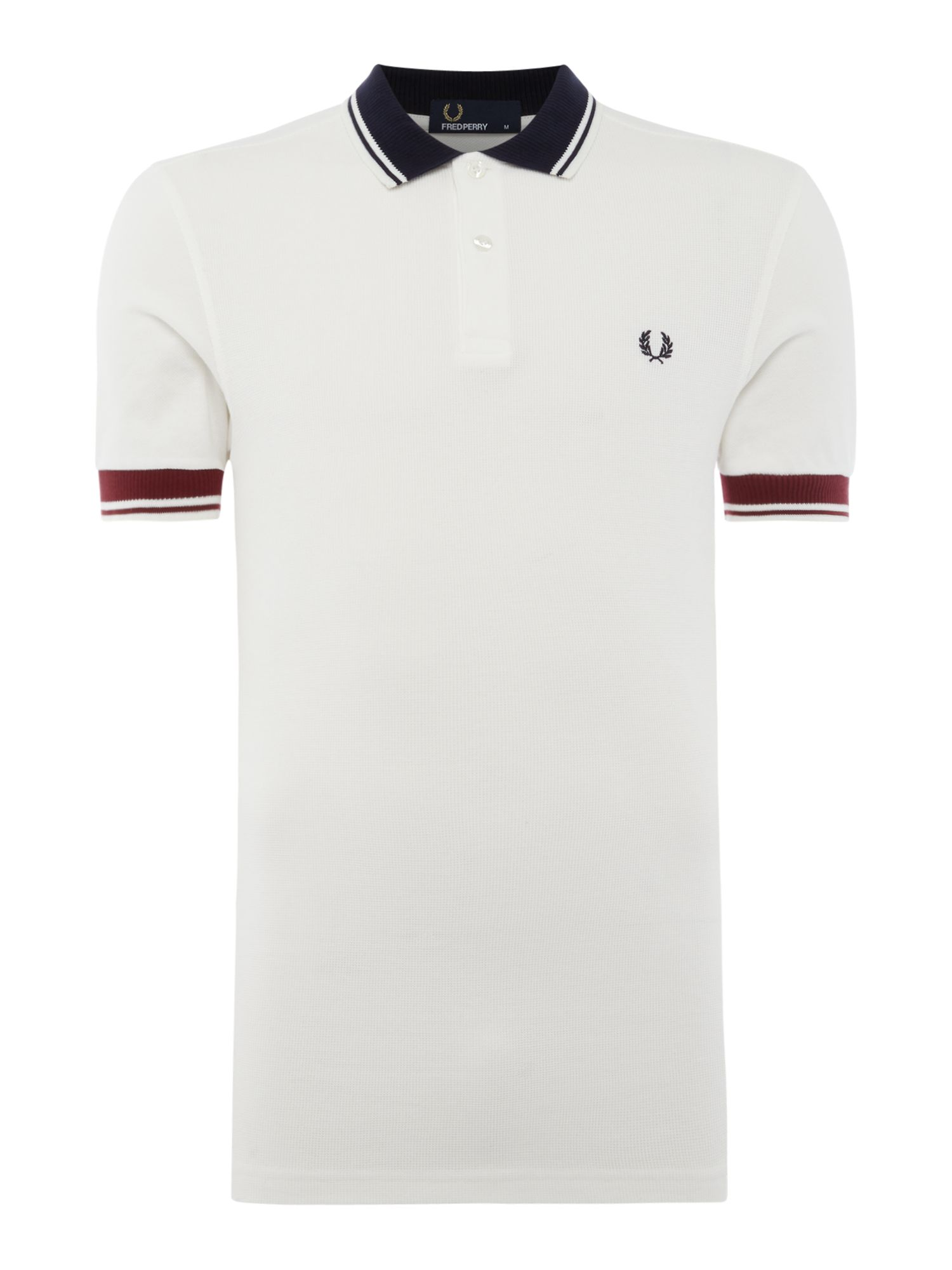 Men's Fred Perry Ribbed trim short sleeve pique polo, White