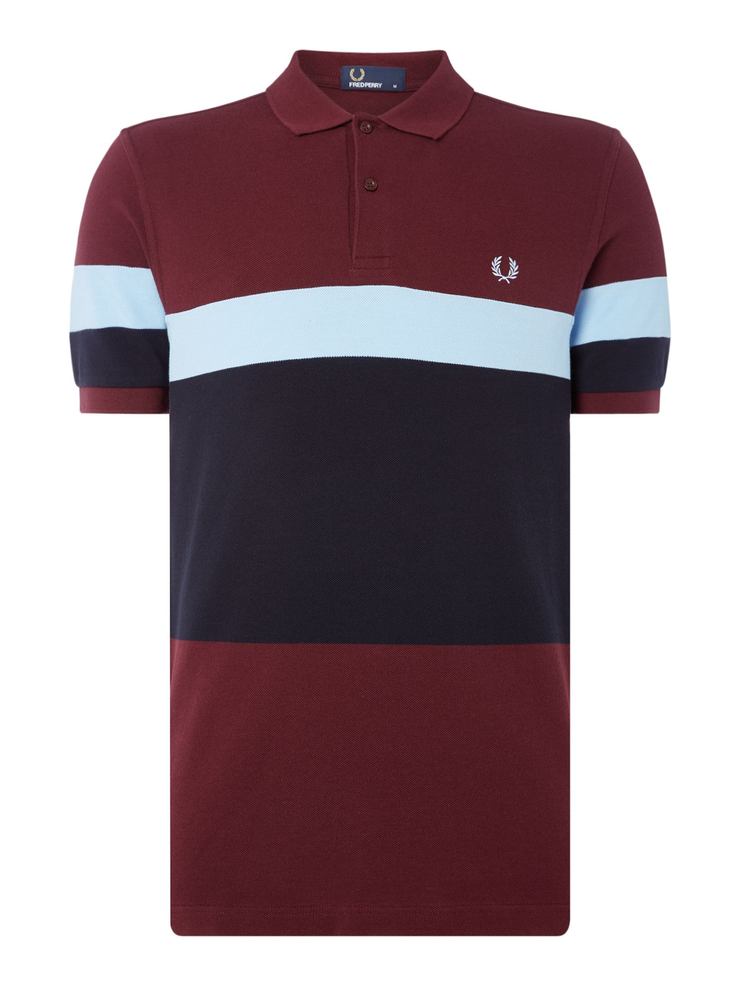 Men's Fred Perry Blocked stripe short sleeve polo, Mahogany