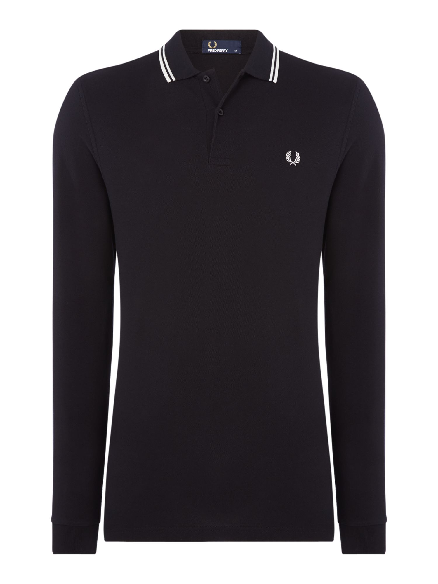 Men's Fred Perry Long Sleeve Twin Tipped Polo, Black