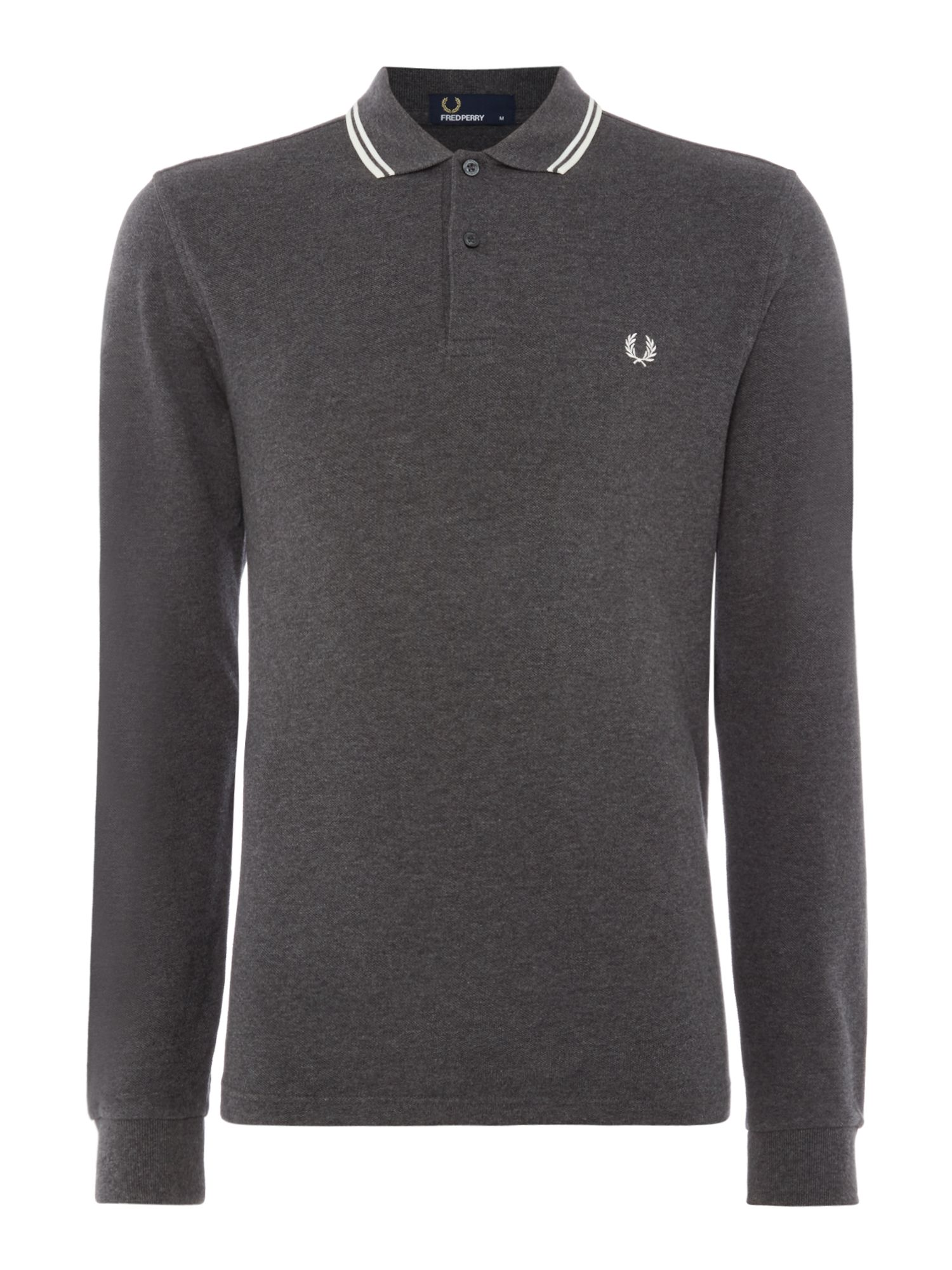Men's Fred Perry Long Sleeve Twin Tipped Polo, Dark Grey