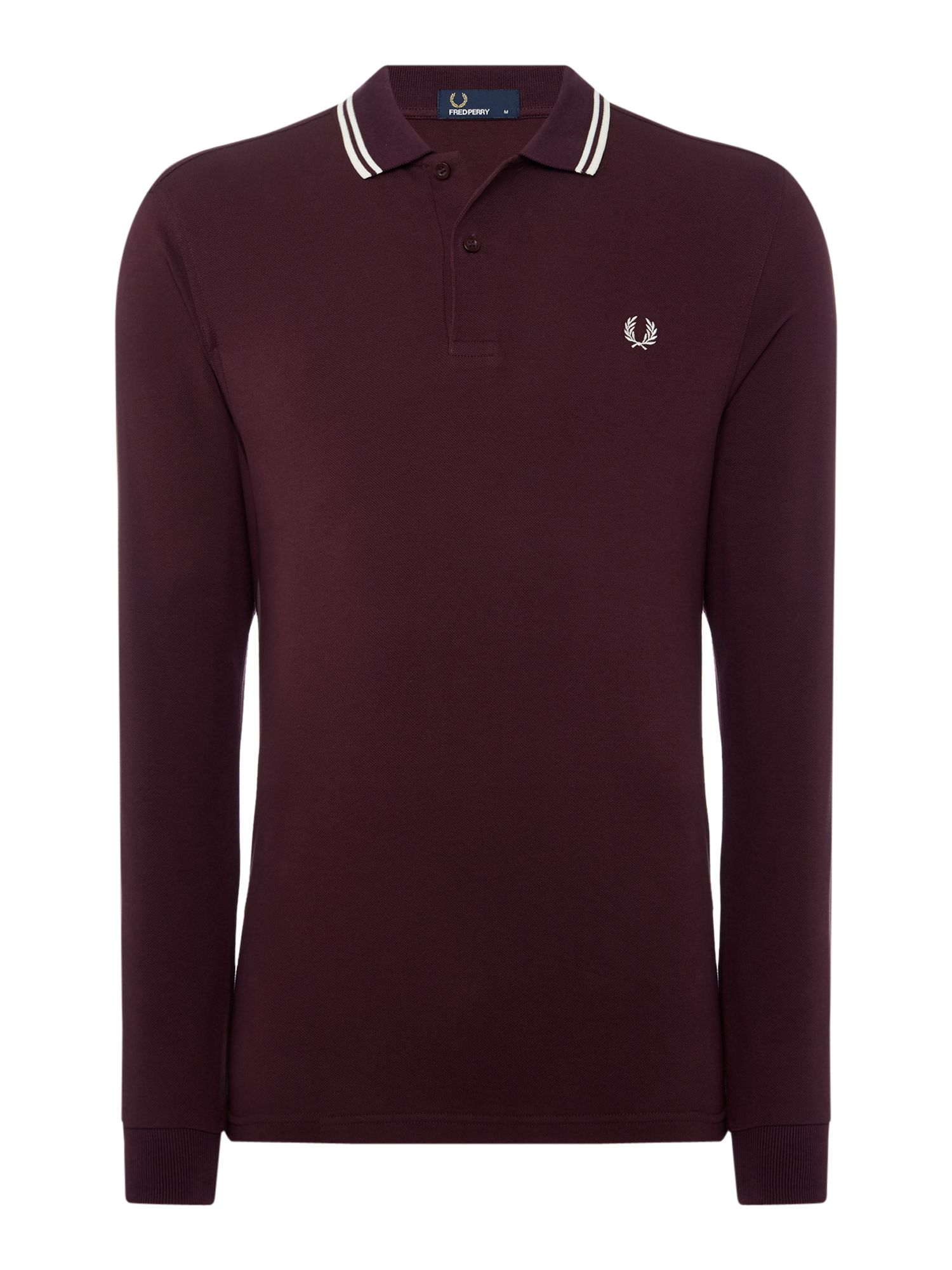 Men's Fred Perry Long Sleeve Twin Tipped Polo, Berry