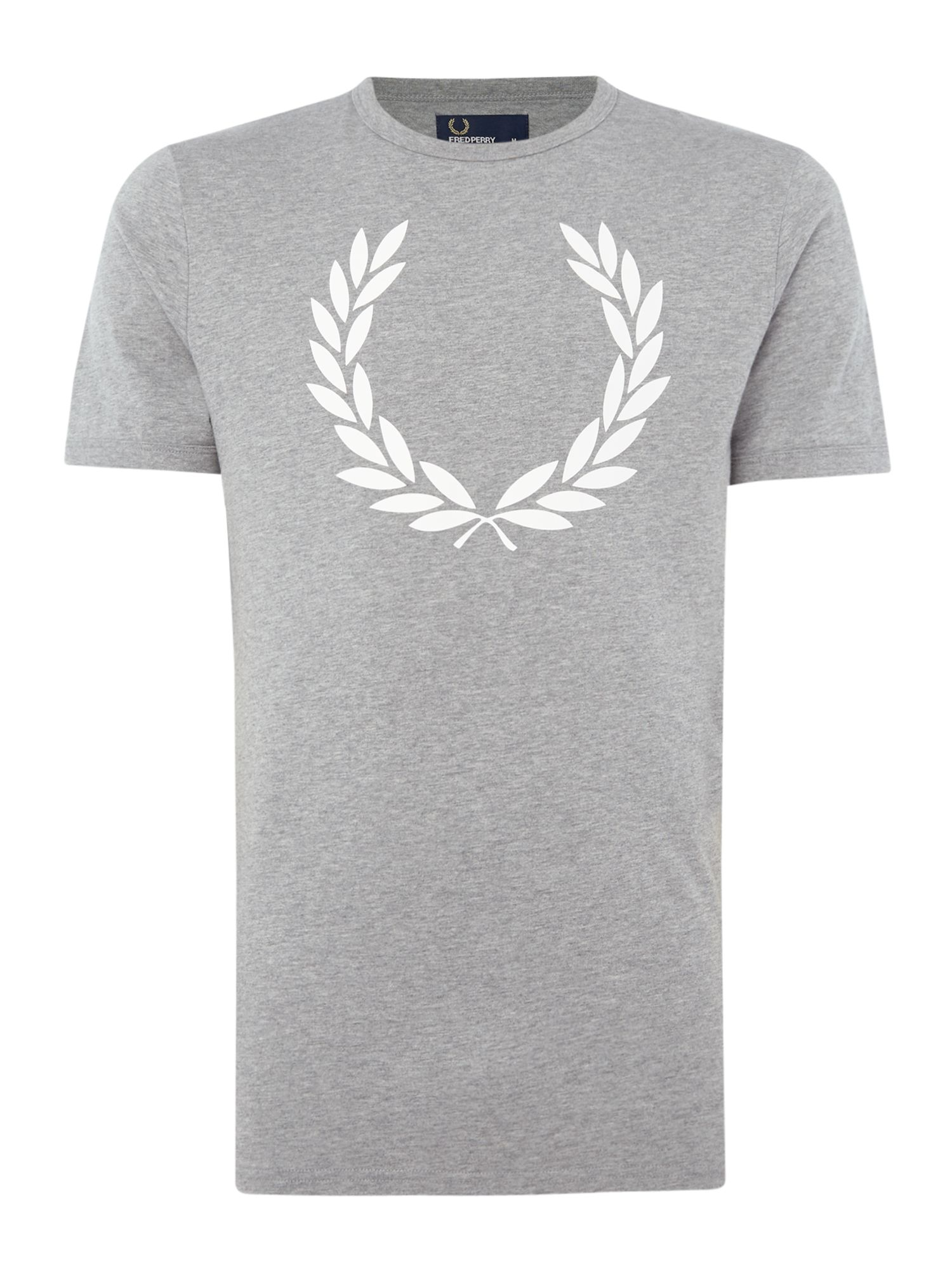 Men's Fred Perry Laurel wreath ringer short sleeve tshirt, Grey Marl