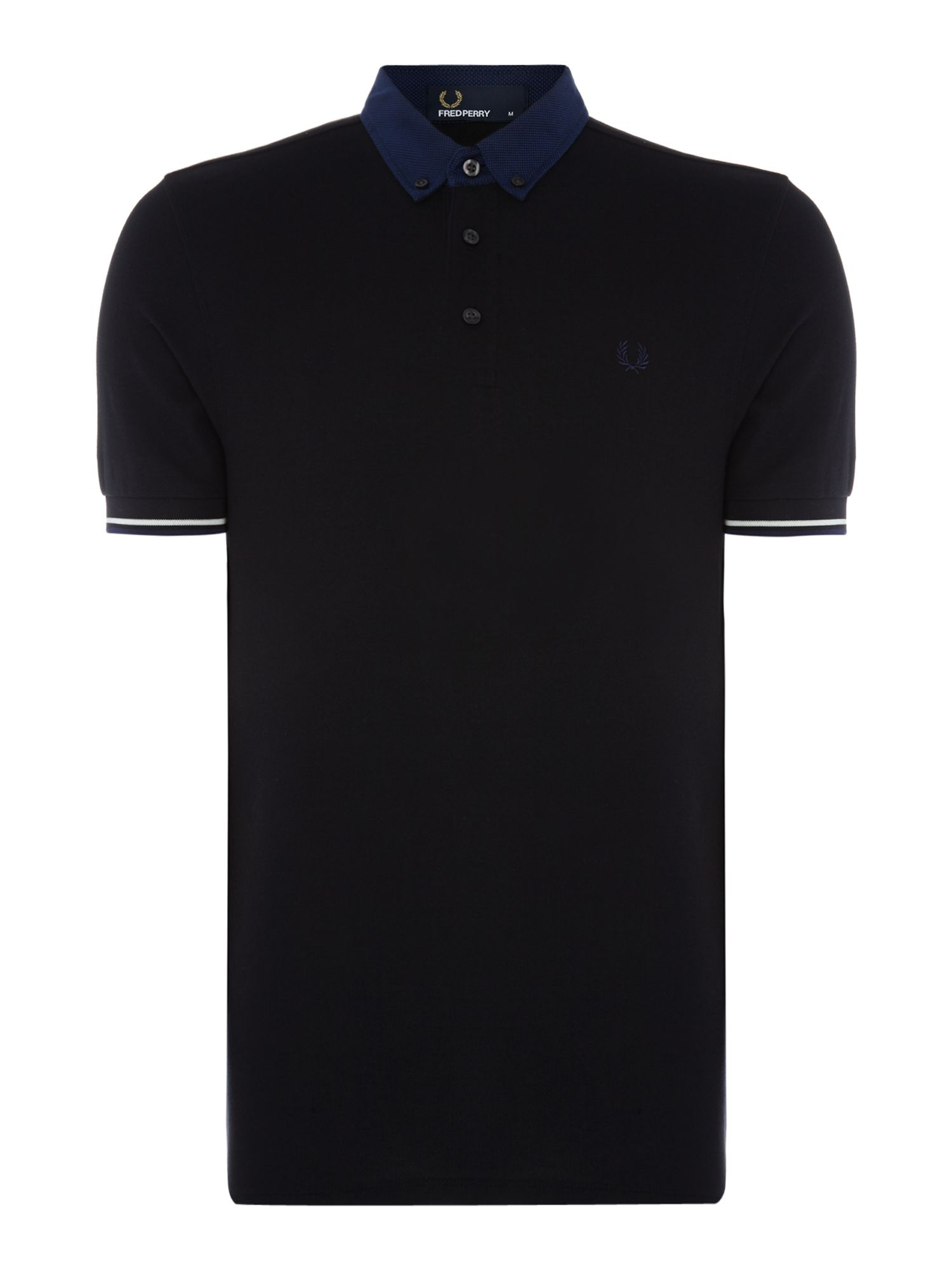 Men's Fred Perry Woven collar short sleeve polo, Black