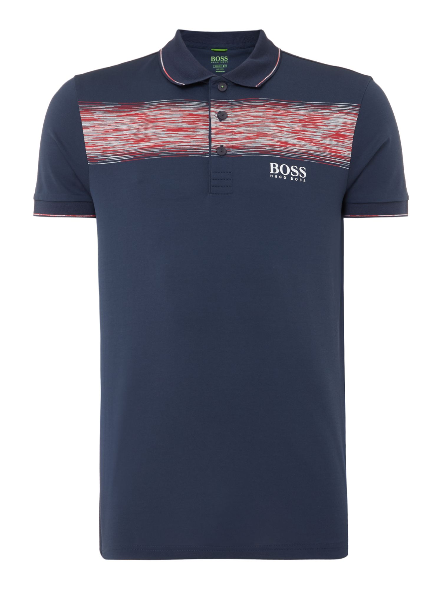 Men's Hugo Boss Paddy pro 4 chect stripe golf polo, Blue