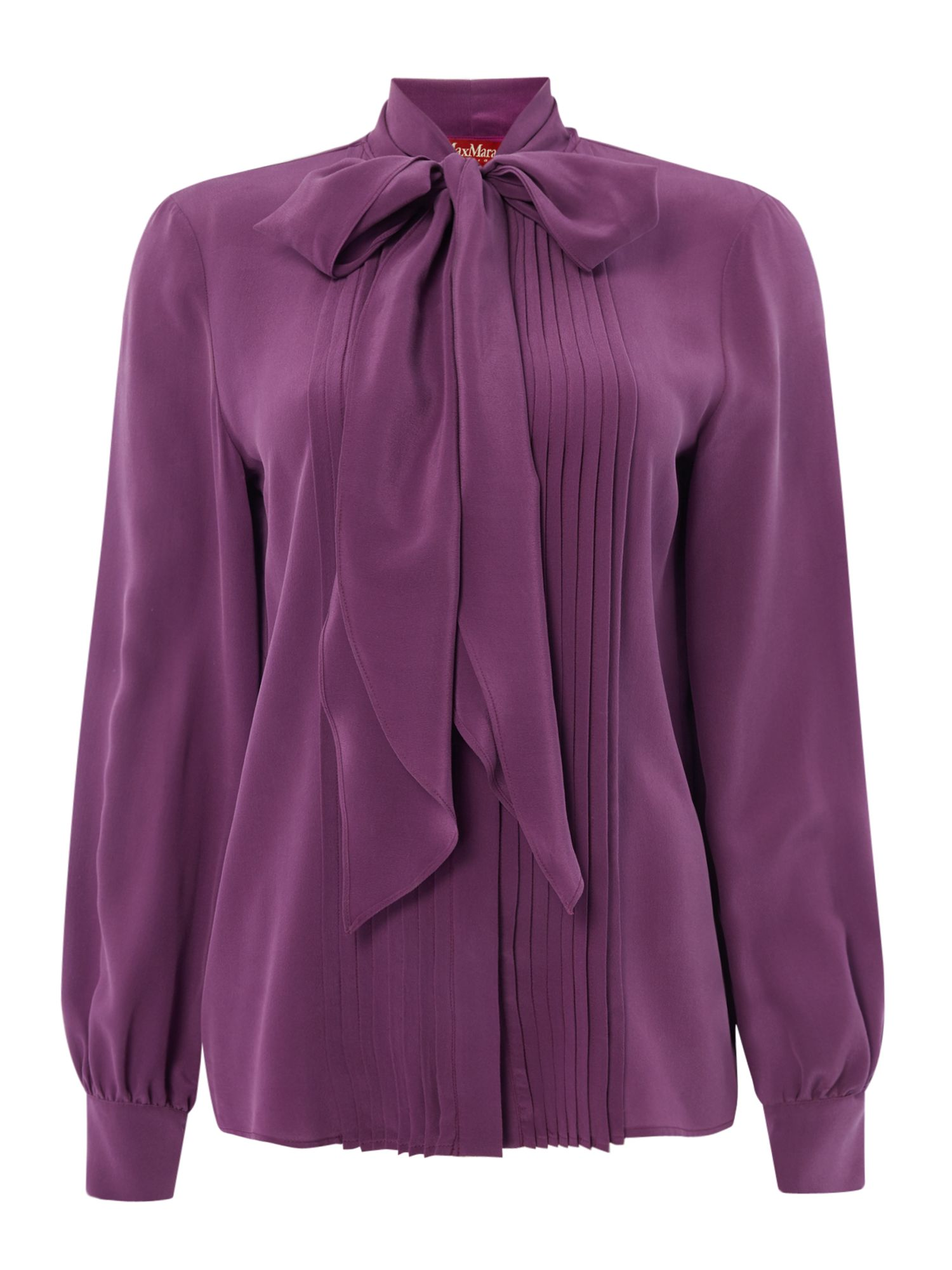 Max Mara Studio Foster tie neck blouse with pleating, Purple