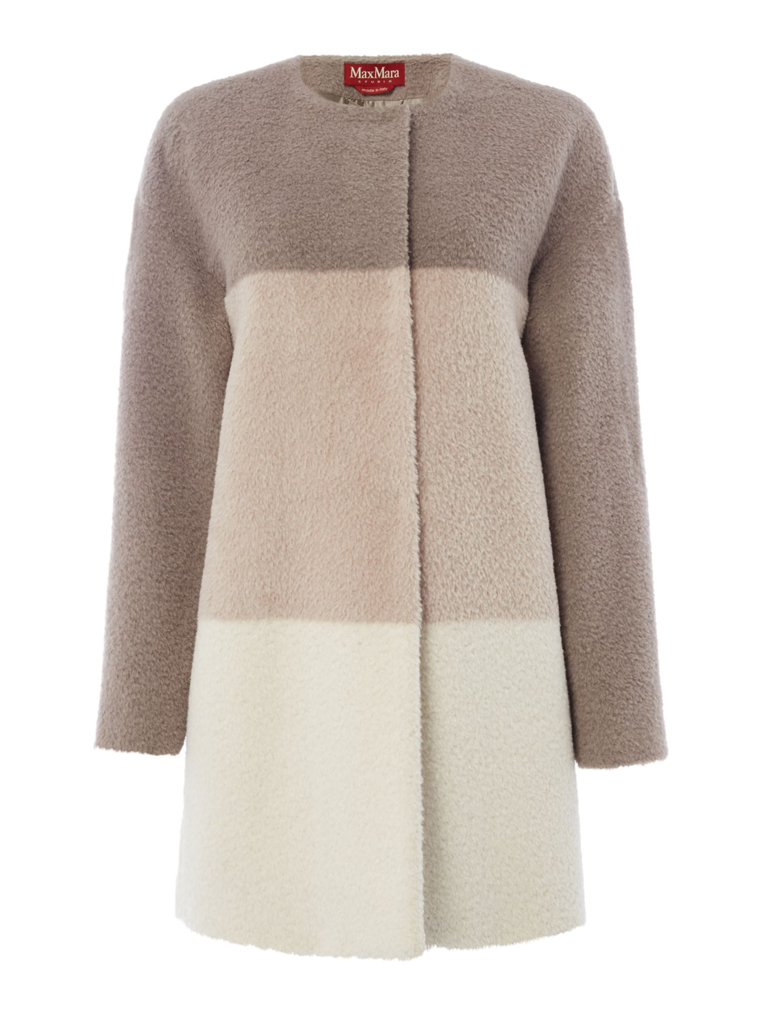 Max Mara Studio Zulia colour block coat, Grey