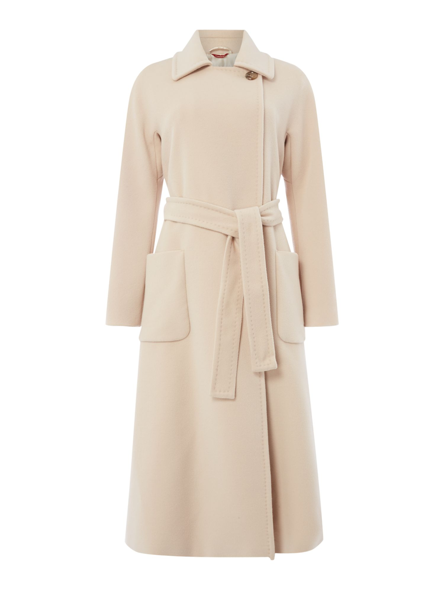 Max Mara Studio Gardena long wool coat with belt, White