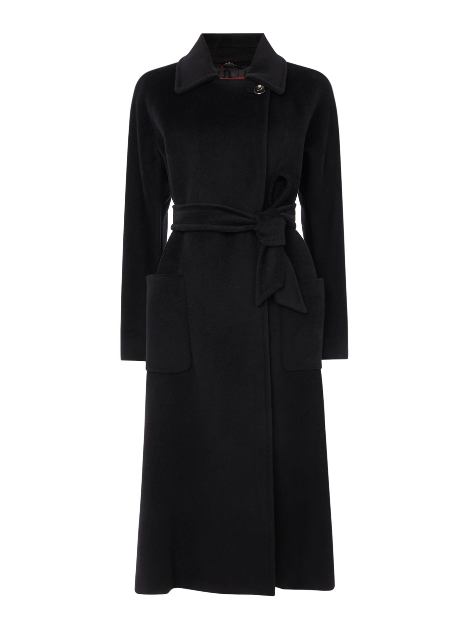 Max Mara Studio Gardena long wool coat with belt, Black