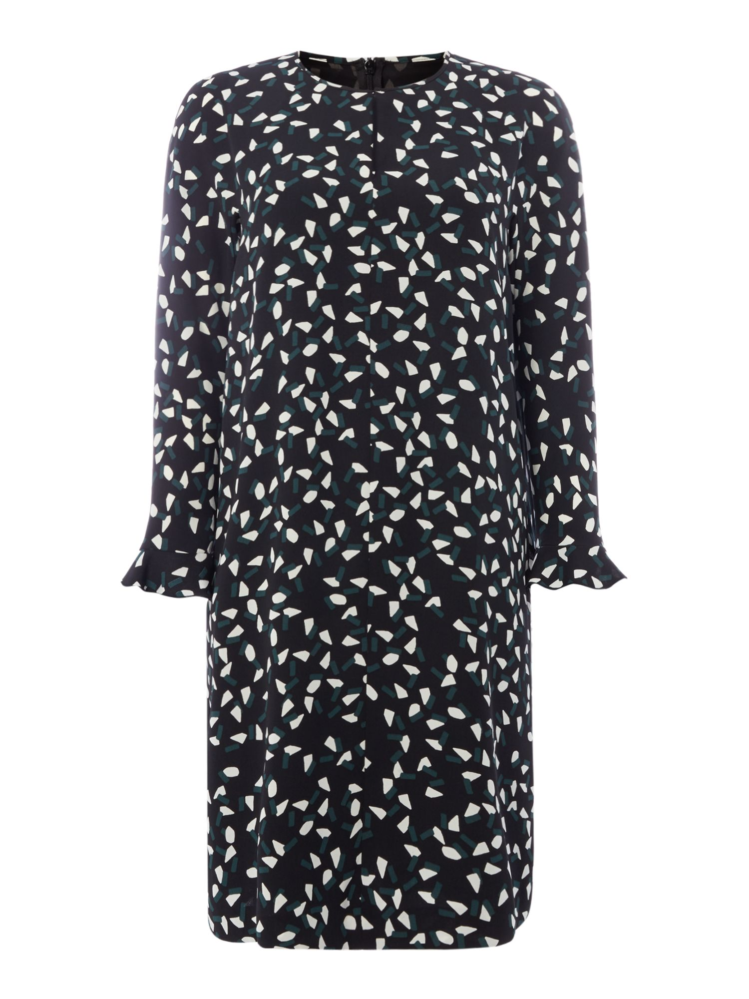 Max Mara Studio Fagus printed dress with ruffle cuff, Black