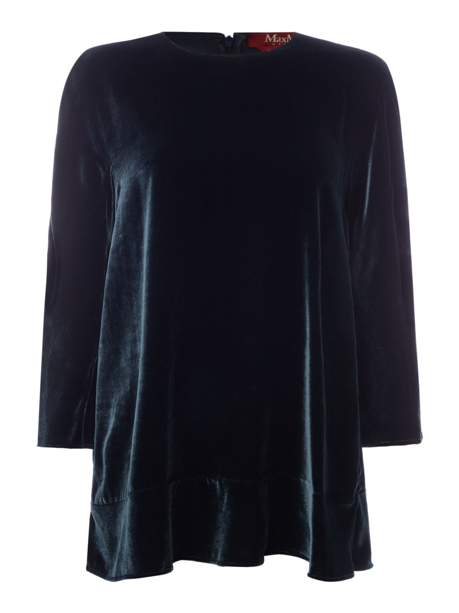 Max Mara Studio Vello velvet top, Dark Green