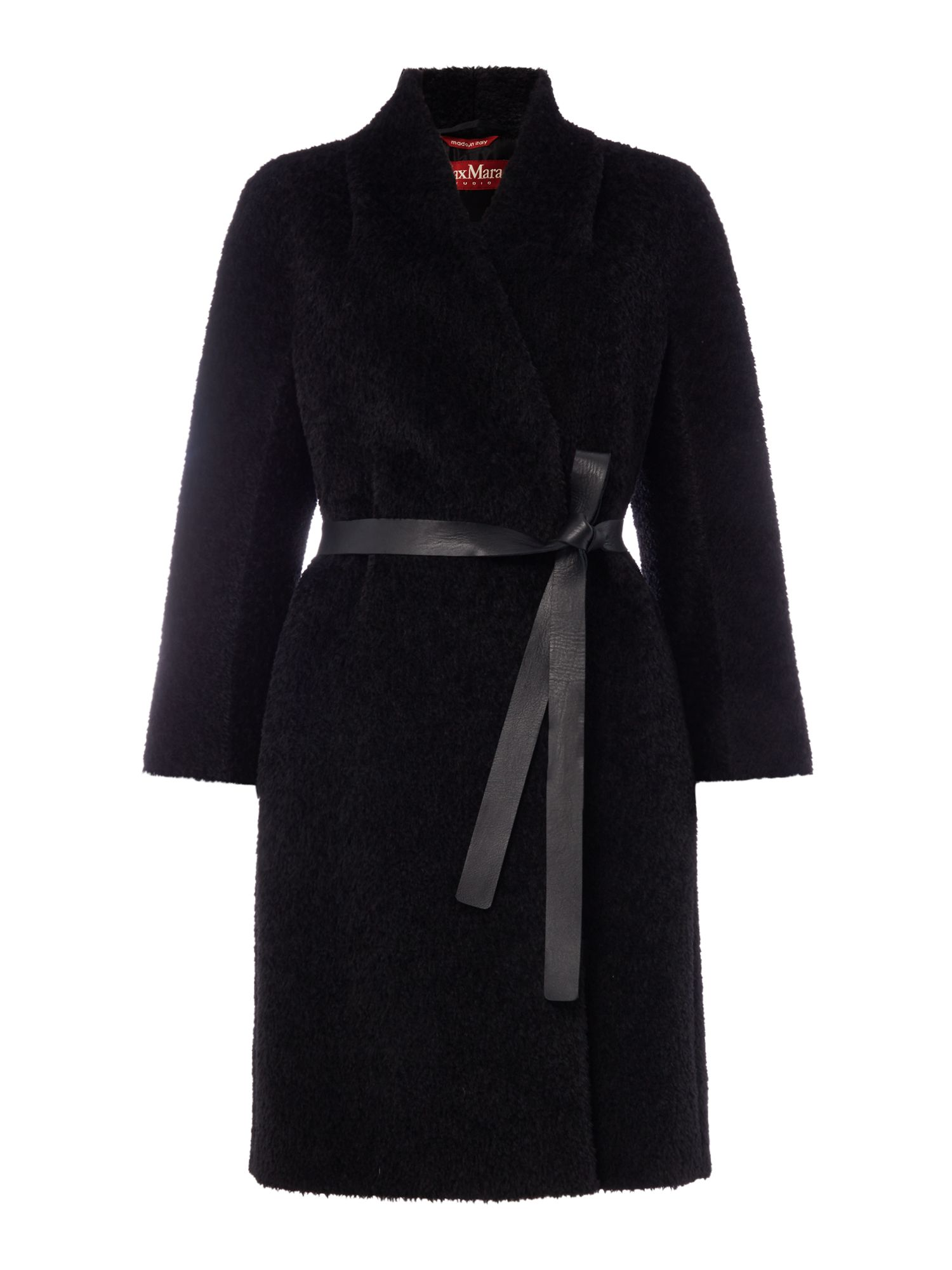 Max Mara Studio Pareo alpaca wool coat with tie waist, Black