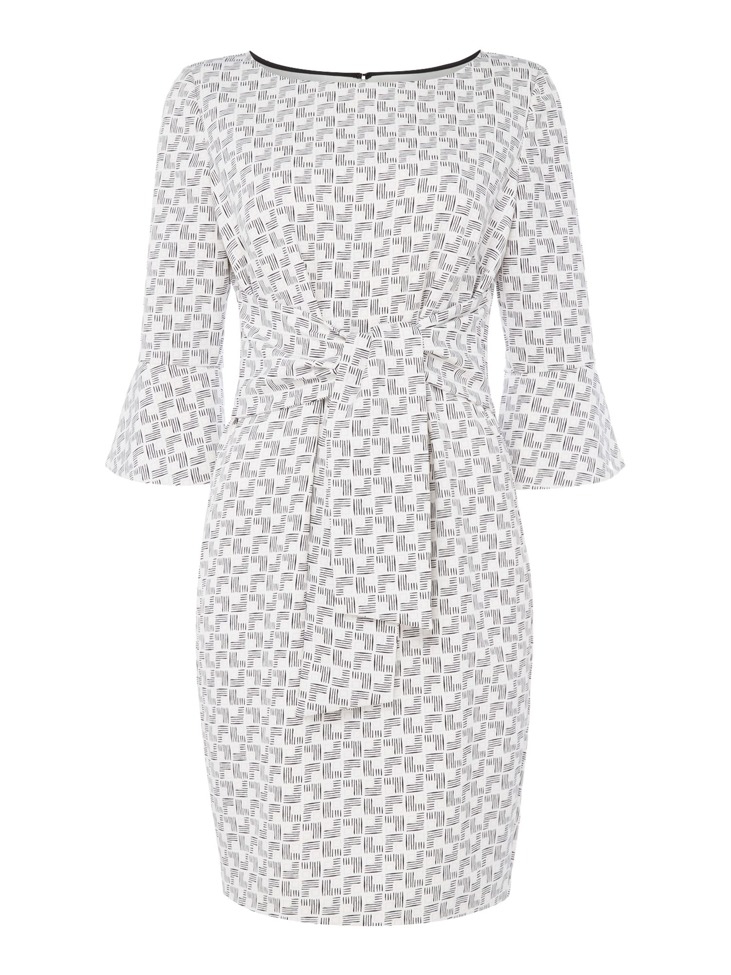 Linea Cora printed tie front dress, White