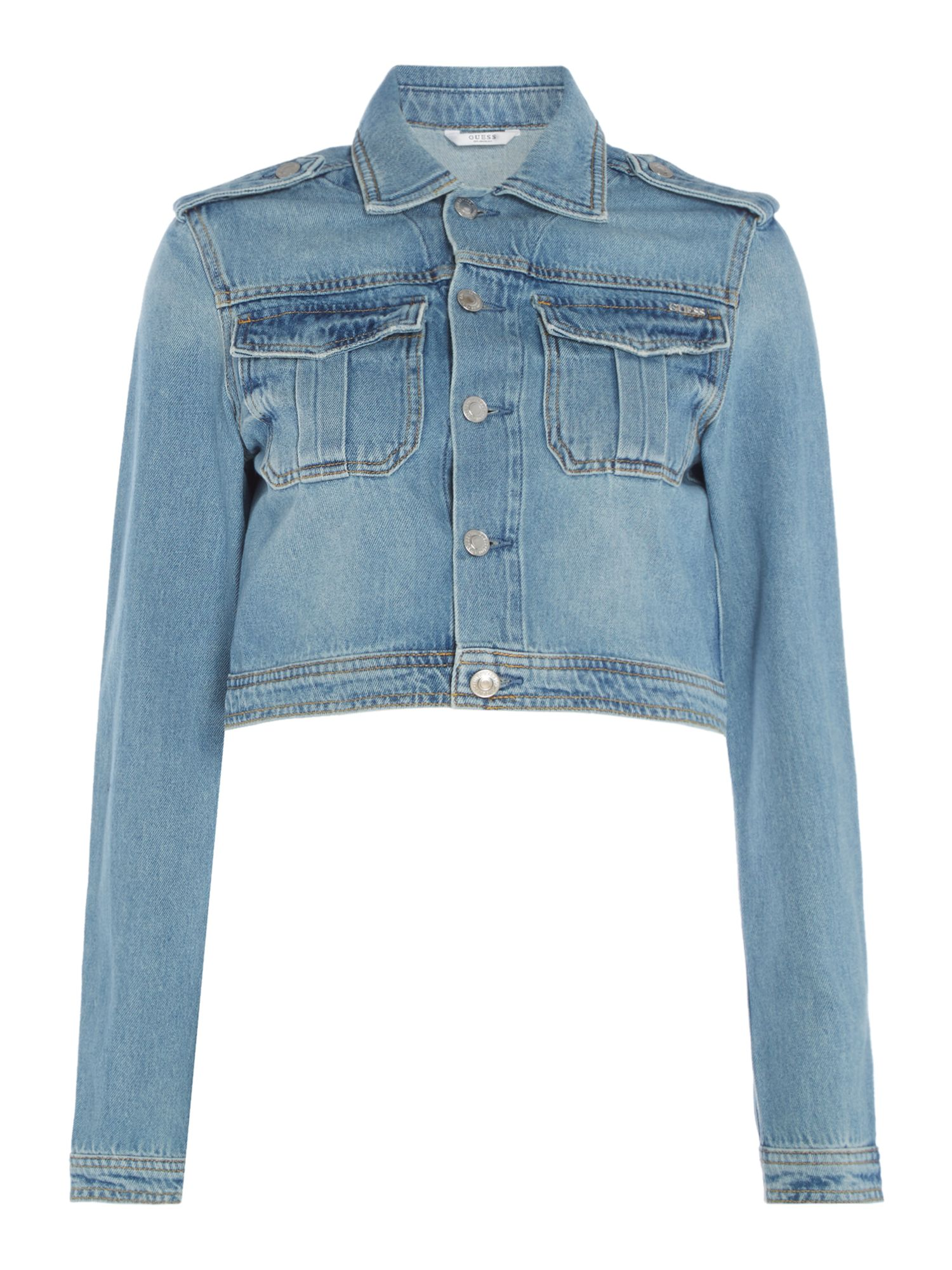 Guess Cropped Utility Denim Jacket, Denim Light Wash