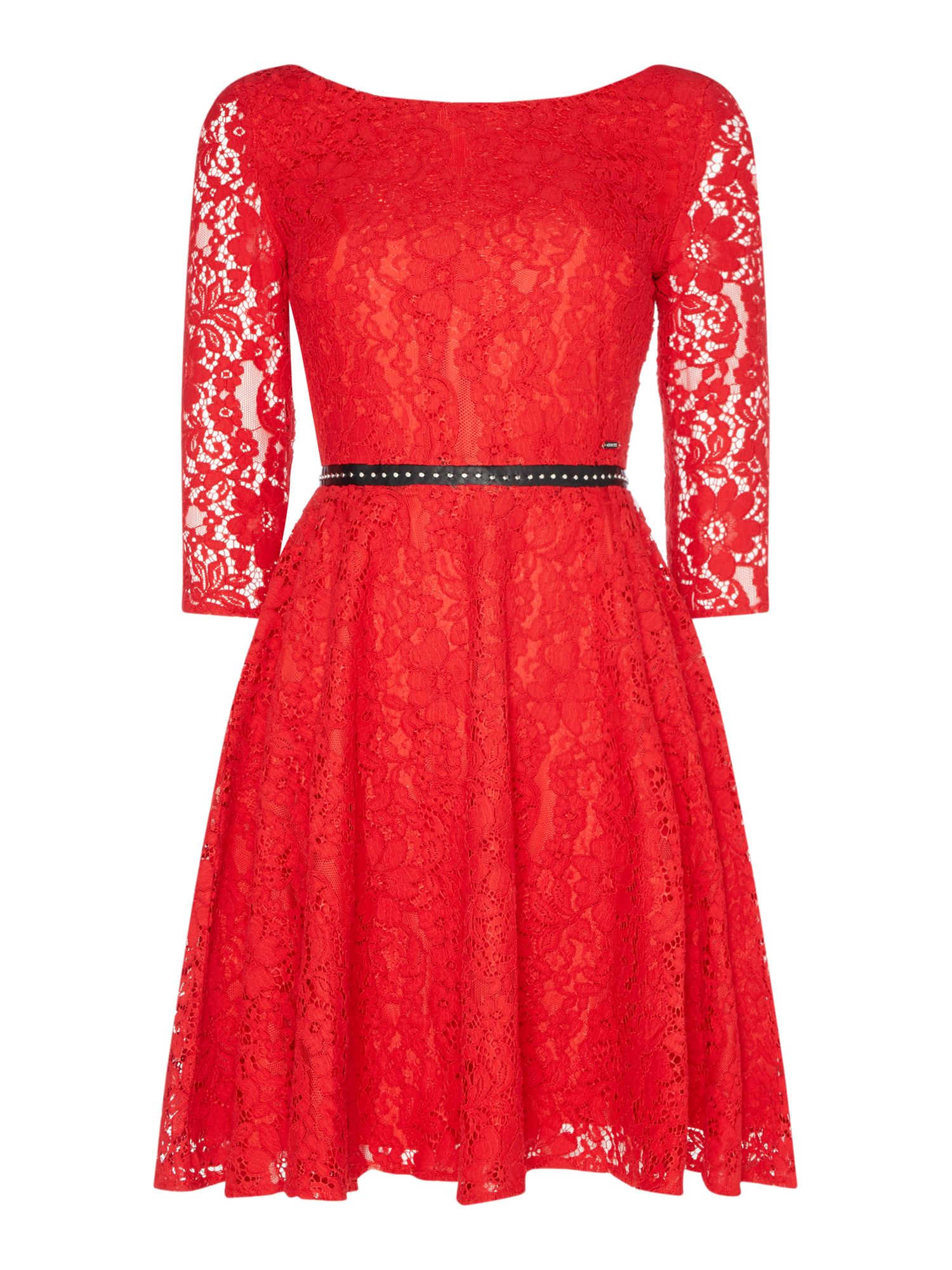 Guess Long Sleeve Lace Fit & Flare Dress, Red
