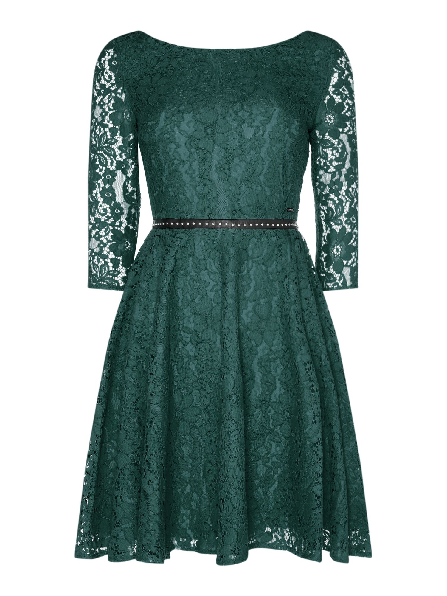 Guess Long Sleeve Lace Fit & Flare Dress, Green