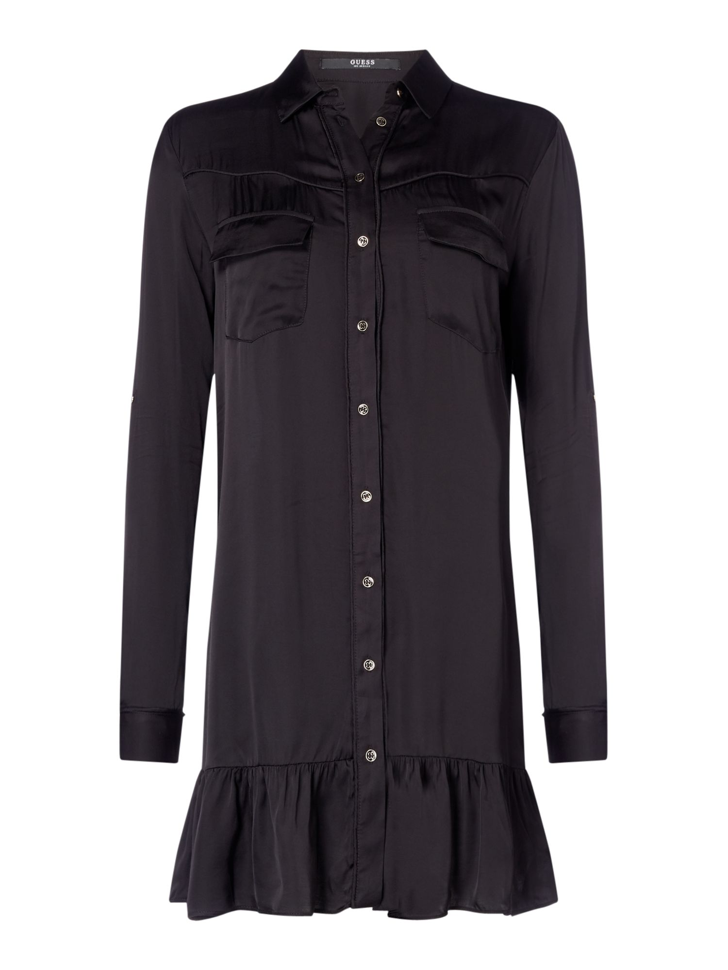 Guess Long sleeve shirt frill dress, Black