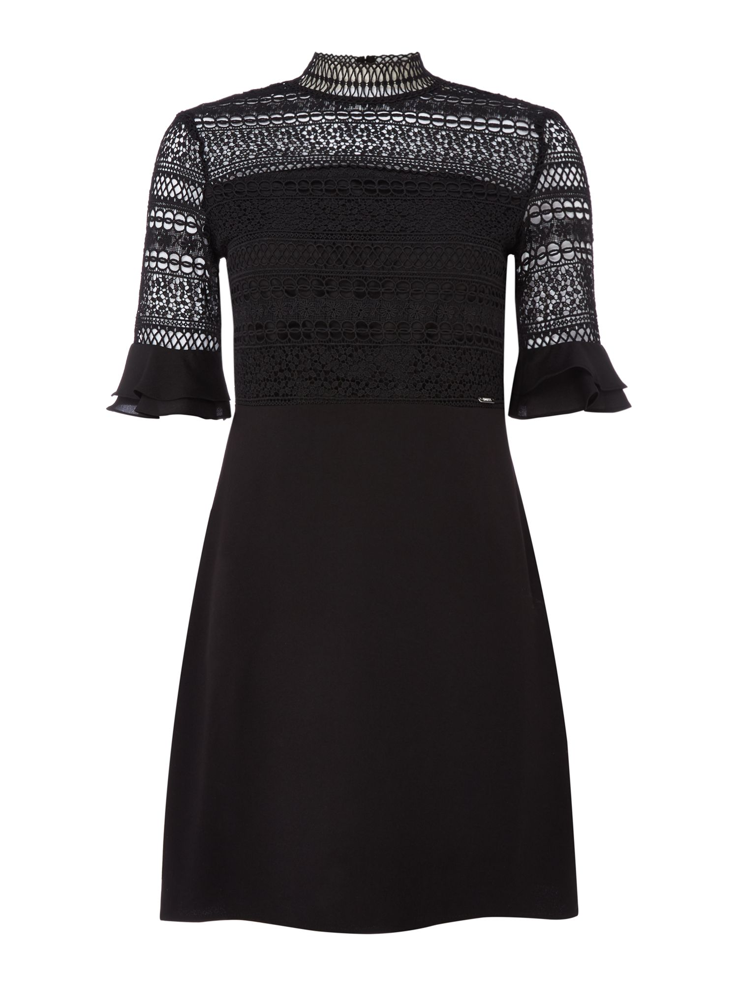 Guess 34 sleeve lace fit and flare dress, Black