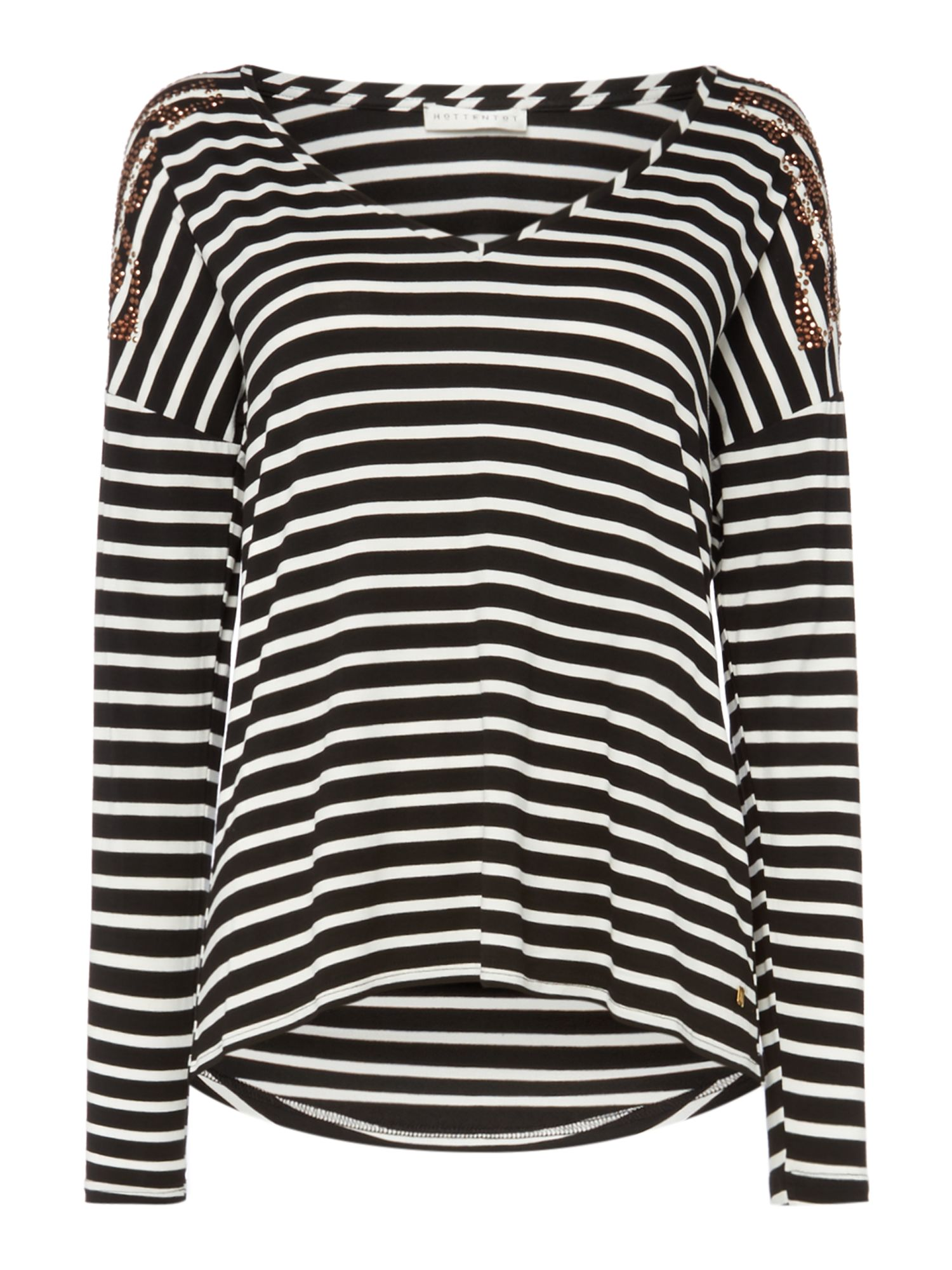 Biba Long sleeve striped logo shoulder tee, Multi-Coloured