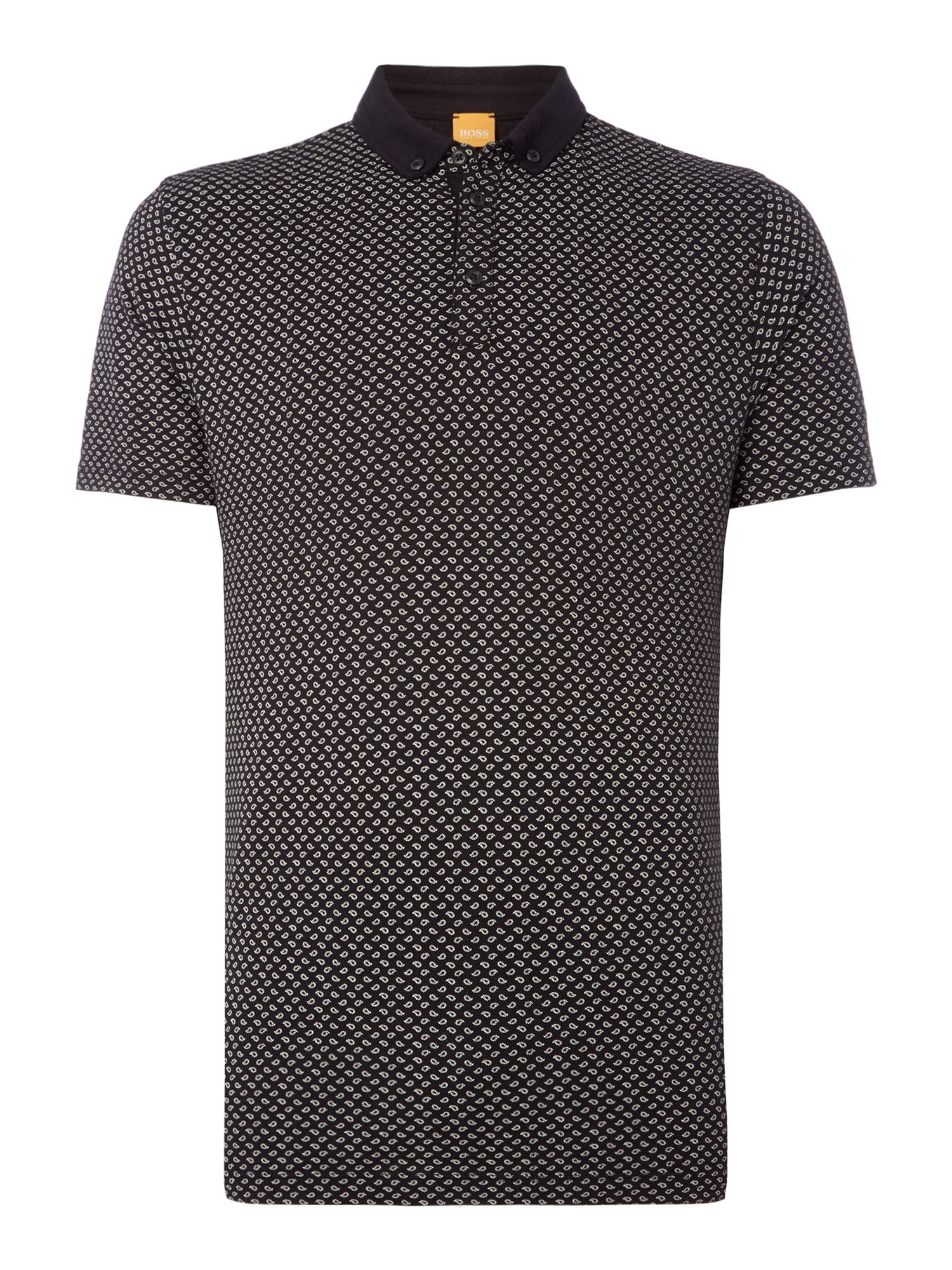 Men's Hugo Boss Perhaps mini paisley print polo, Black